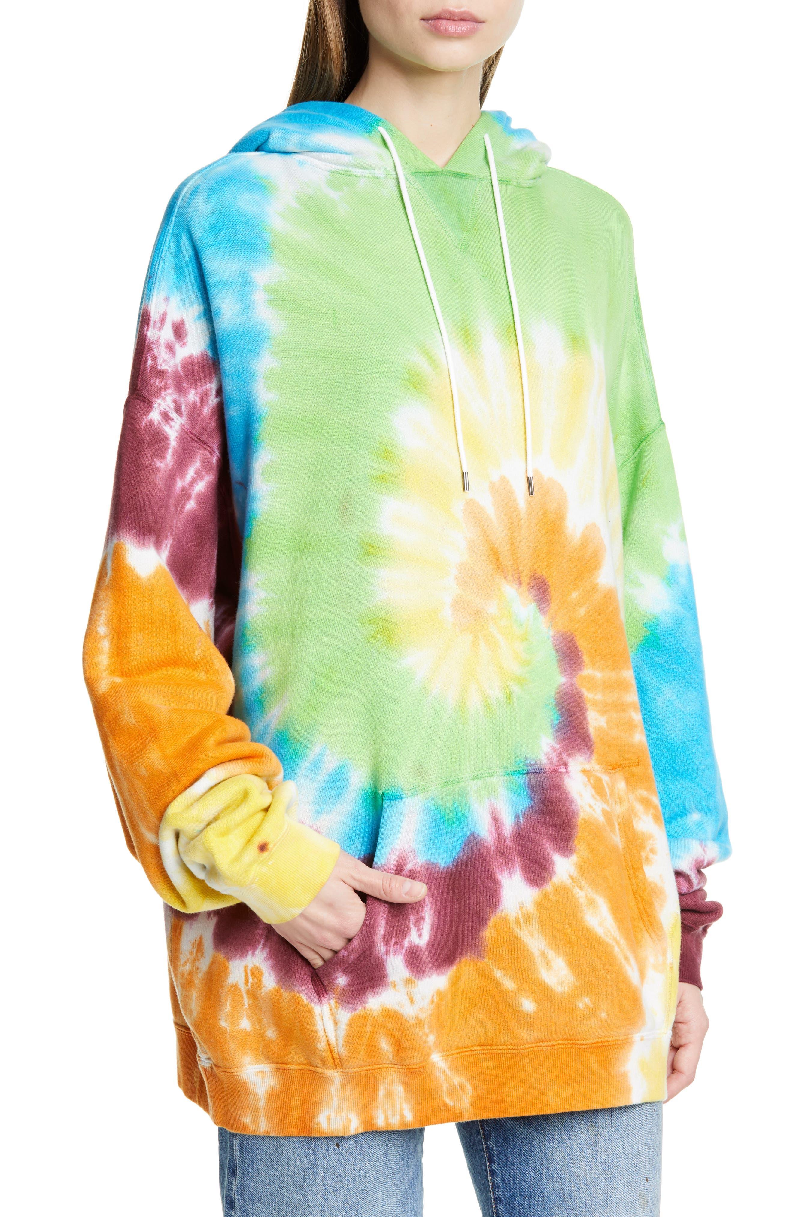 R13, Tie Dye Rainbow Hoodie, Alternate thumbnail 5, color, TIE DYE