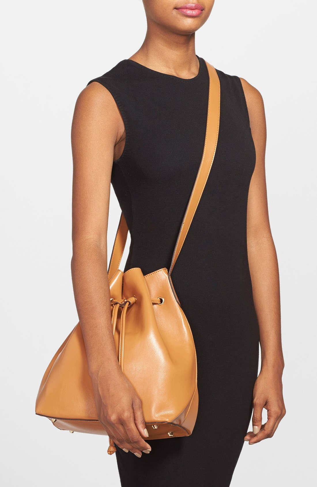 SOLE SOCIETY, 'Nevin' Faux Leather Drawstring Bucket Bag, Alternate thumbnail 2, color, 200