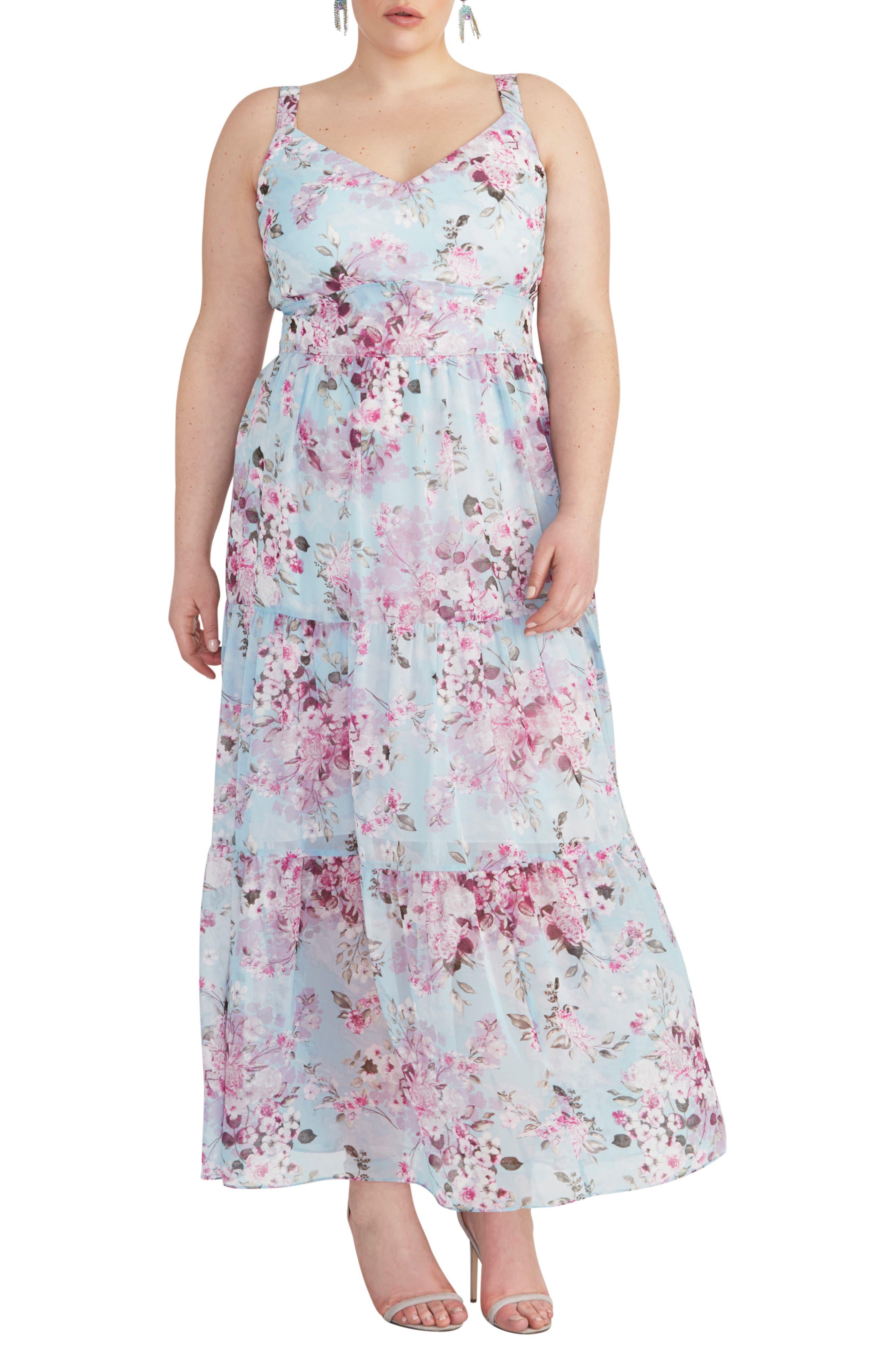 Plus Size Rachel Rachel Roy Cutout Floral Maxi Dress, Blue