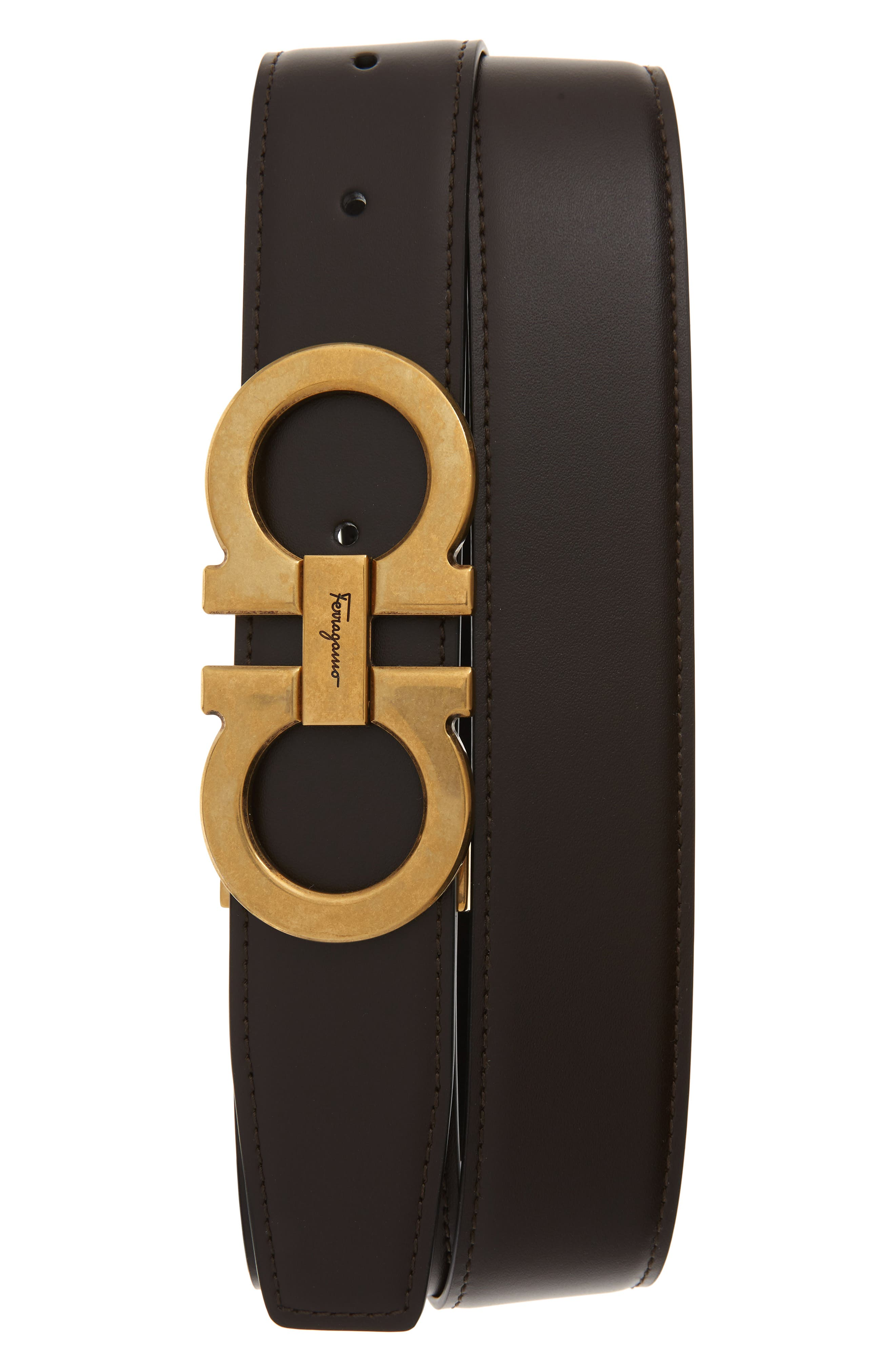 SALVATORE FERRAGAMO, Leather Belt, Main thumbnail 1, color, HICKORY/ NERO