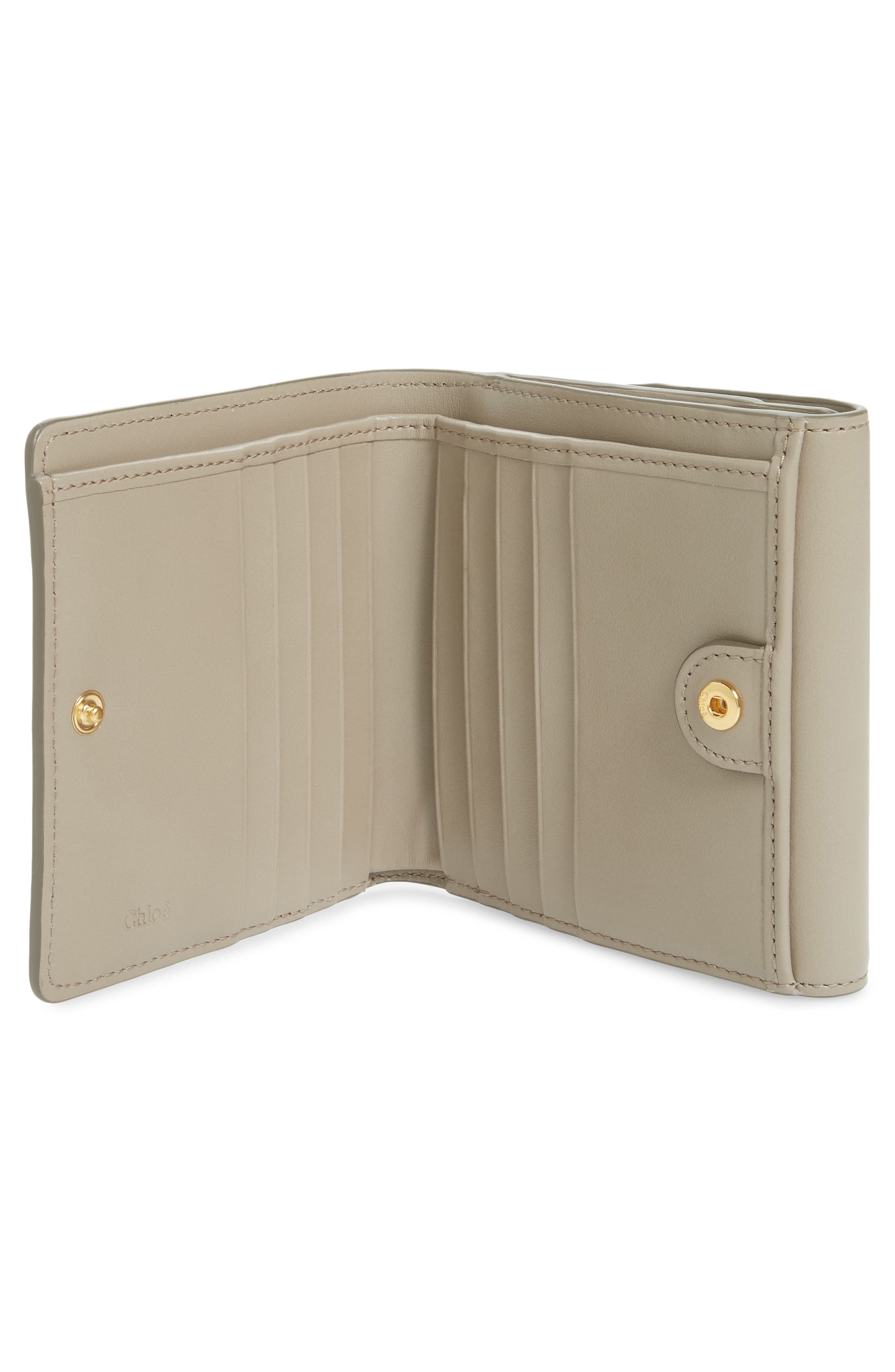 CHLOÉ, Square Leather Wallet, Alternate thumbnail 2, color, MOTTY GREY
