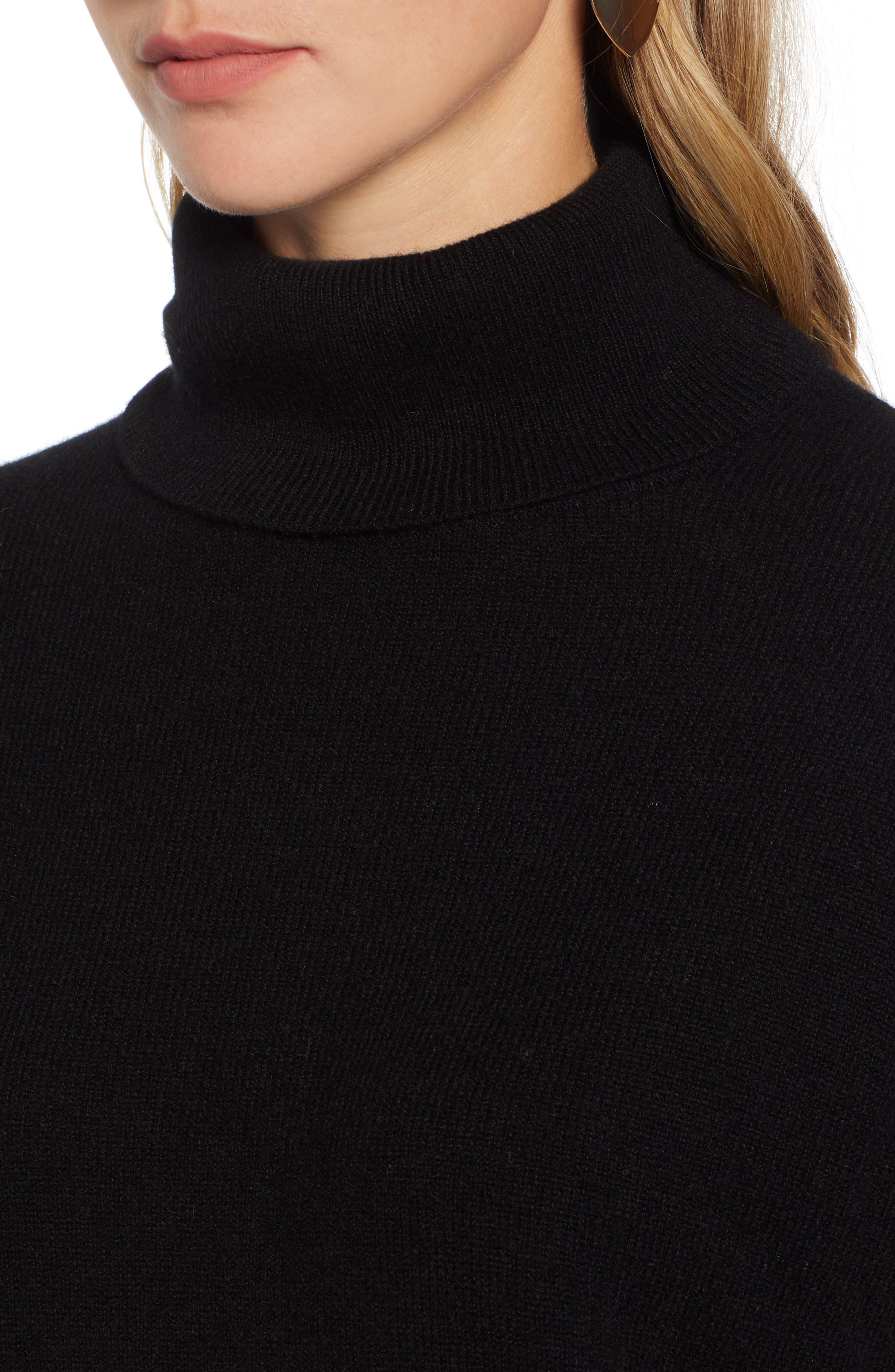 HALOGEN<SUP>®</SUP>, Cashmere Turtleneck Sweater, Alternate thumbnail 4, color, 001