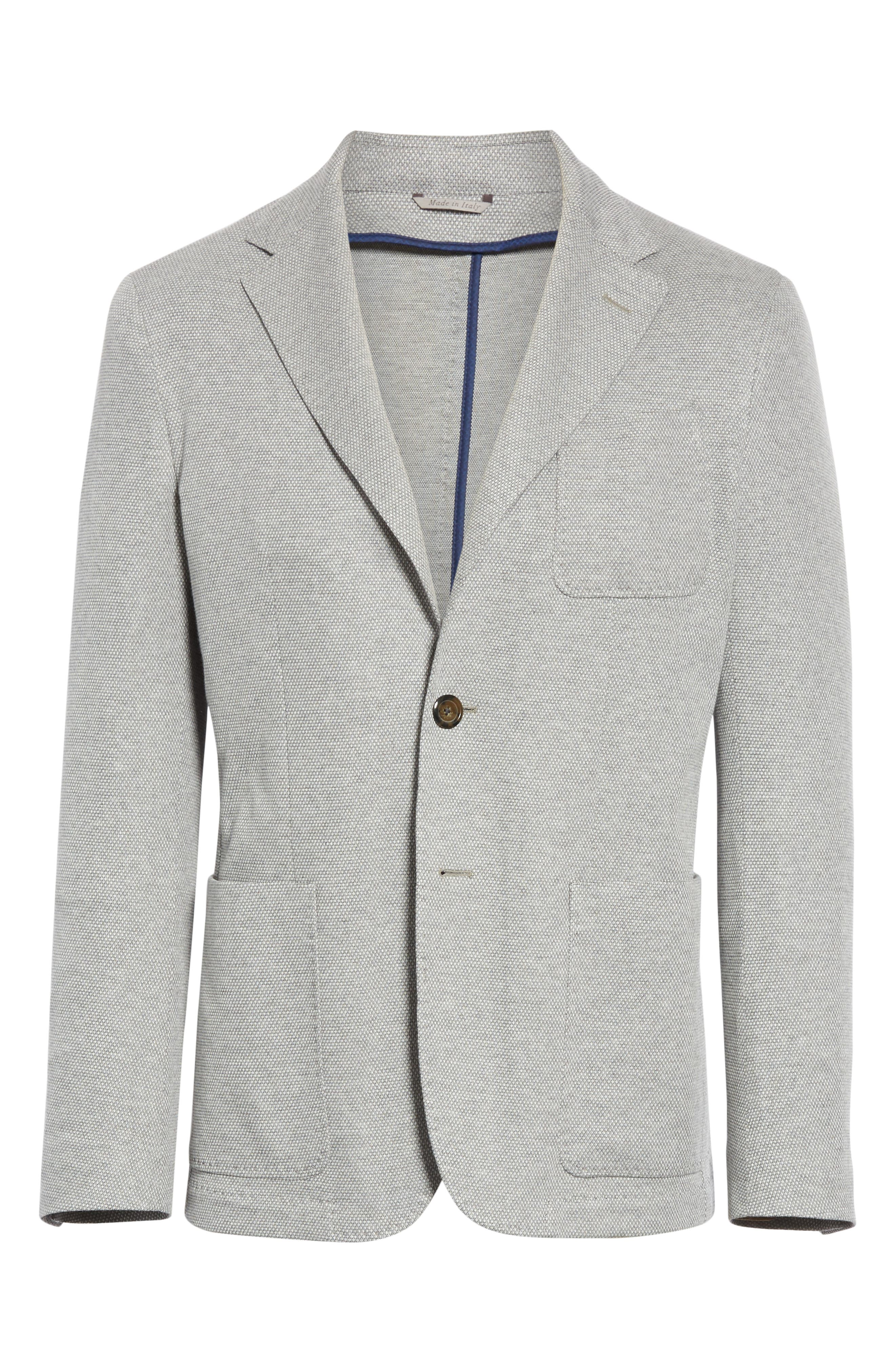 CANALI, Classic Fit Washed Sport Coat, Alternate thumbnail 5, color, LIGHT GREY
