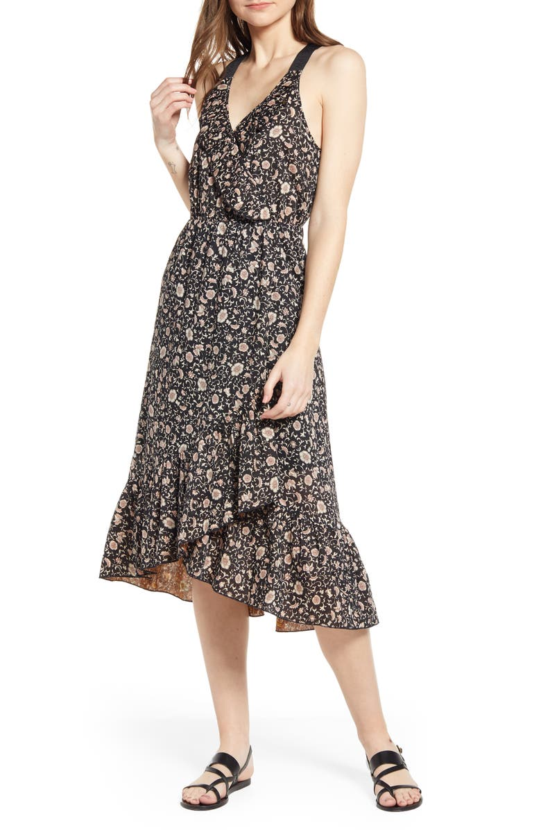 Scotch & Soda FLORAL RUFFLE FAUX WRAP DRESS