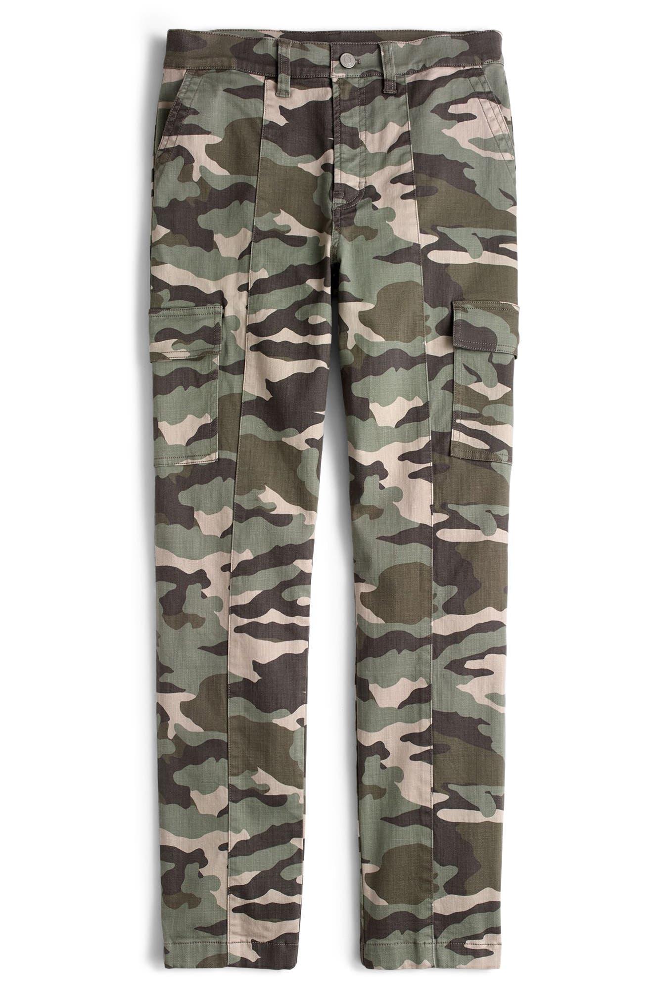 Petite J.crew Camo Straight Leg Cargo Pants, 4P - Green