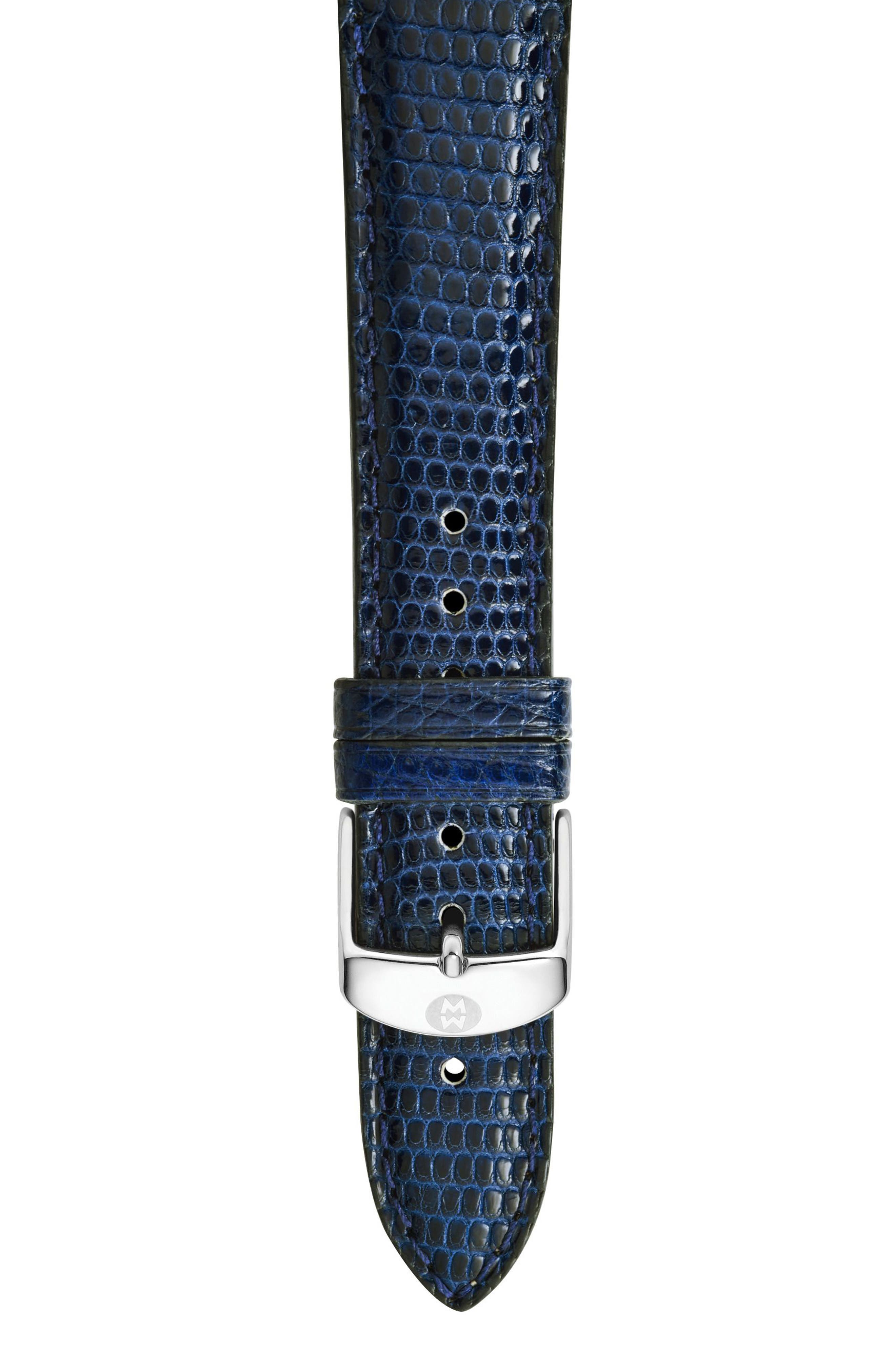 MICHELE, 18mm Leather Watch Strap, Main thumbnail 1, color, BLUE