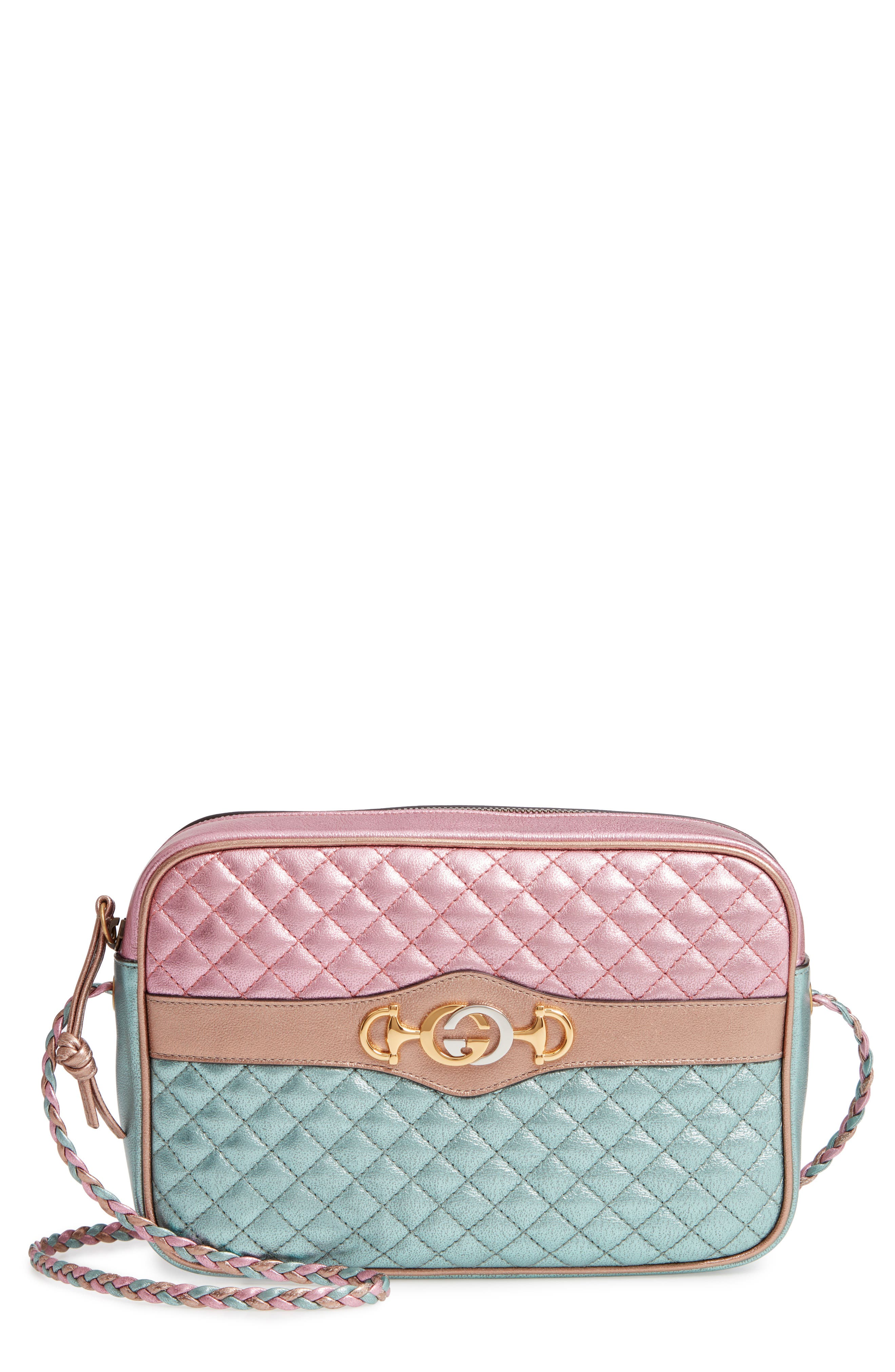 GUCCI, Small Quilted Metallic Leather Shoulder Bag, Main thumbnail 1, color, ROSE/ BLUE