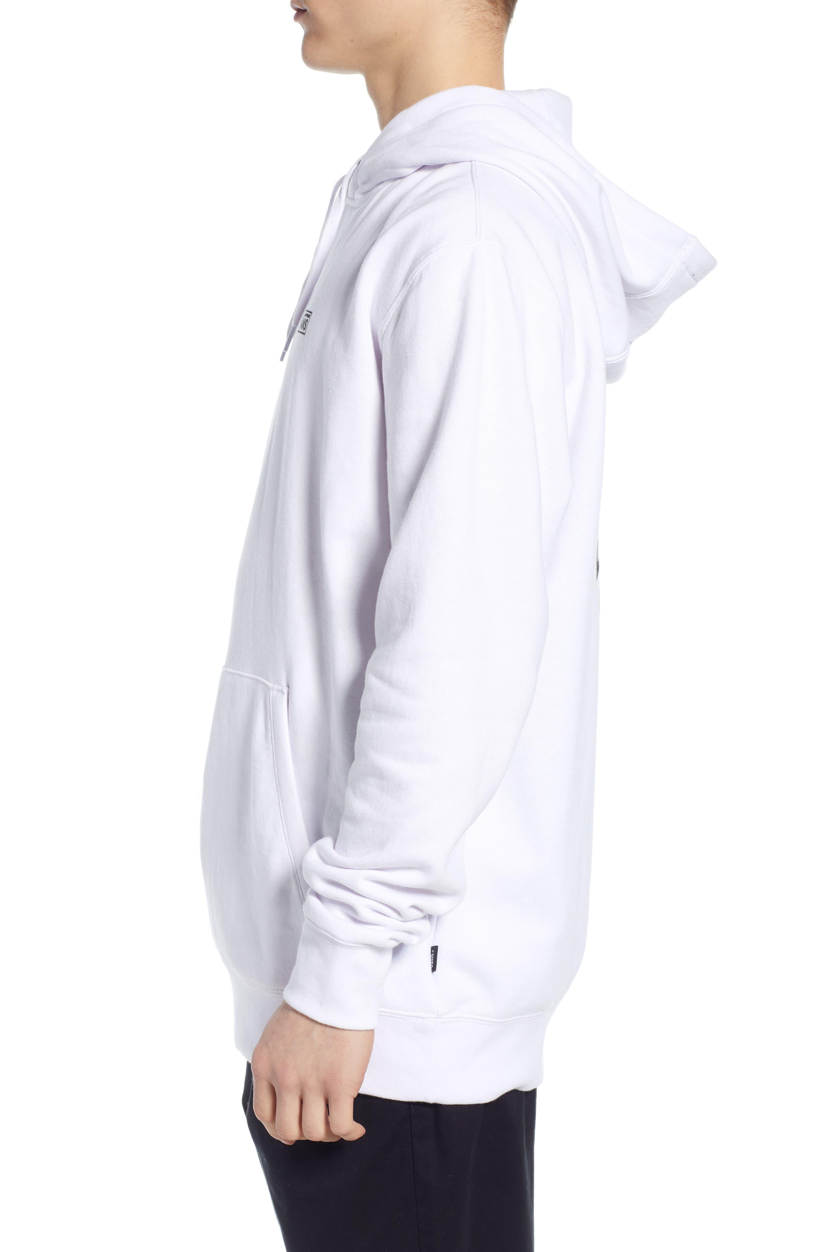 VANS, Off the Wall Distort Hooded Sweatshirt, Alternate thumbnail 4, color, WHITE