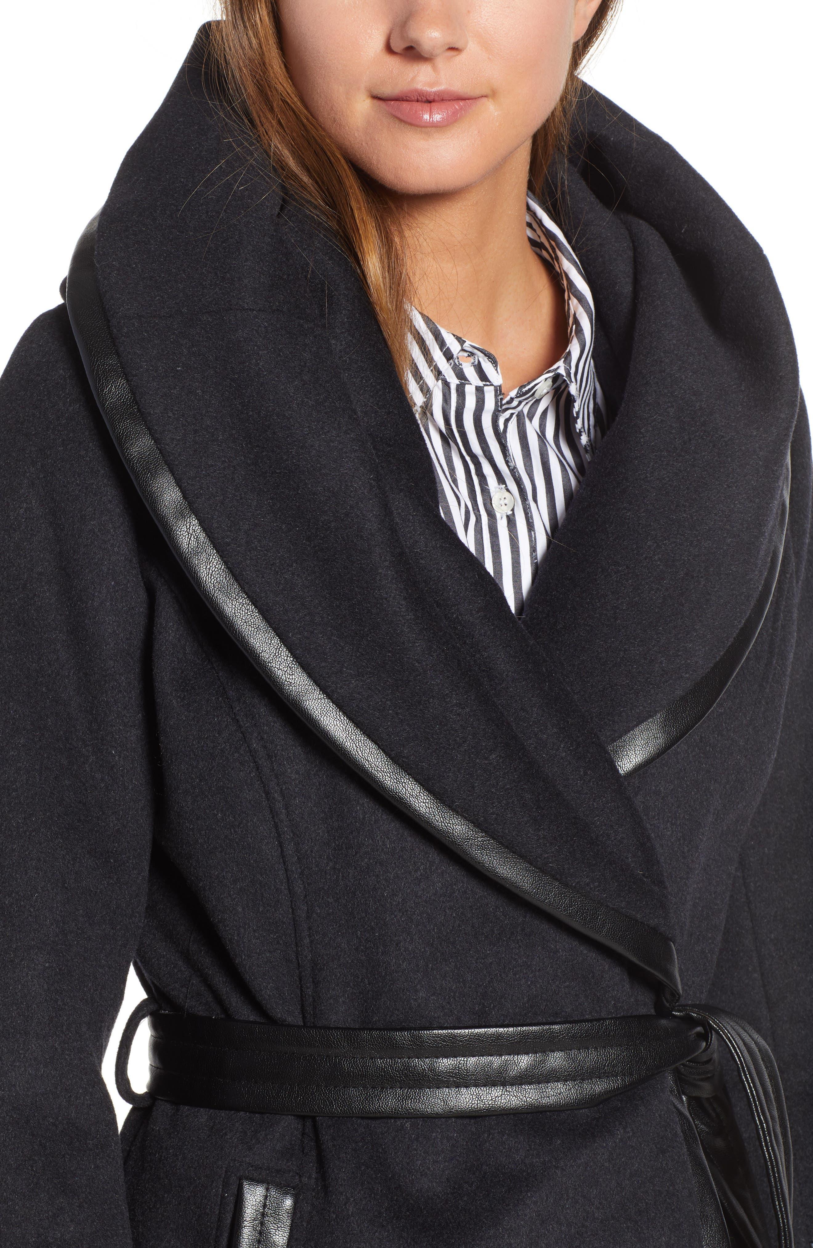 VIA SPIGA, Wool Blend Coat, Alternate thumbnail 5, color, CHARCOAL