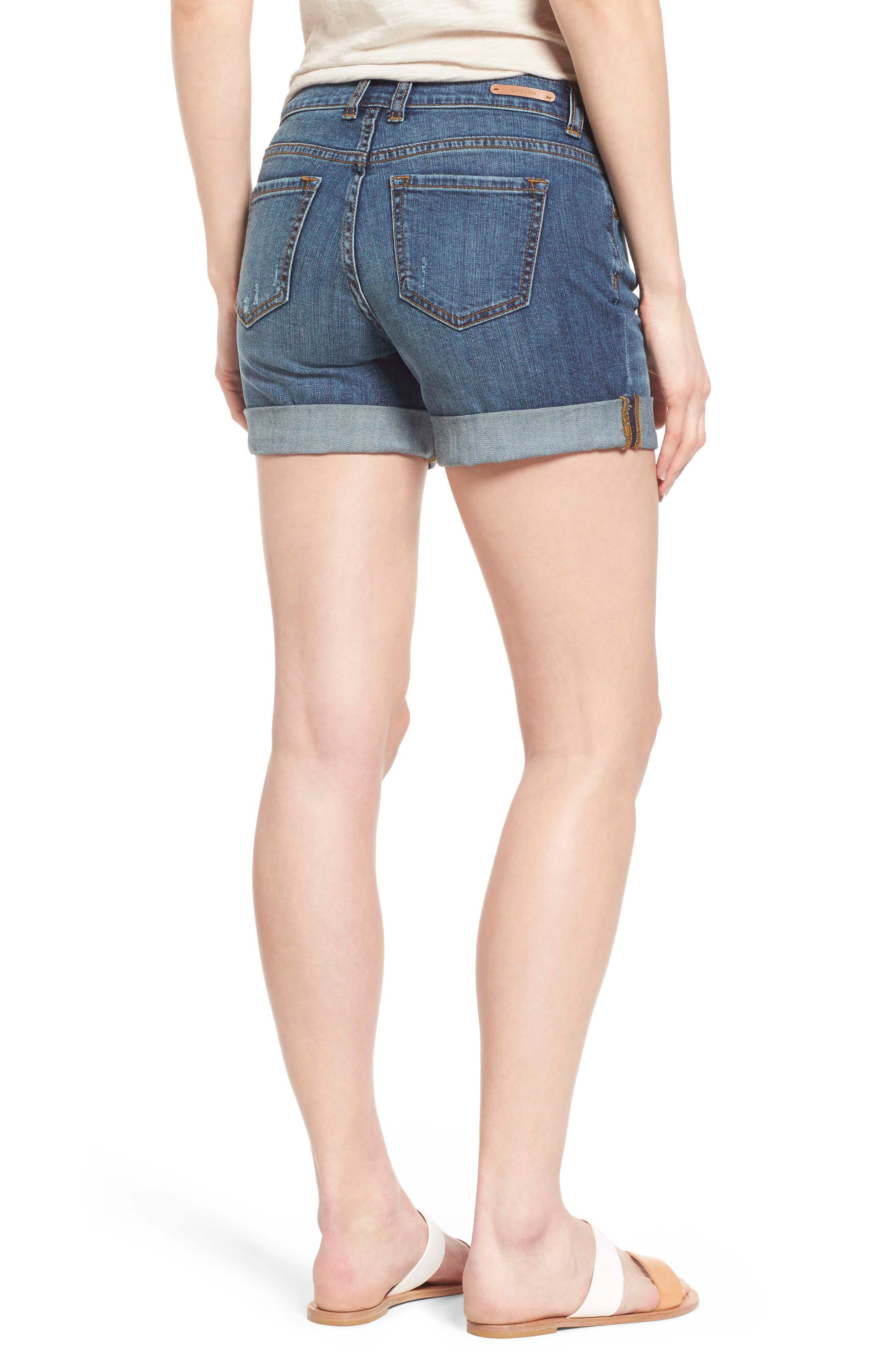 CASLON<SUP>®</SUP>, Rolled Denim Boyfriend Shorts, Alternate thumbnail 2, color, 401