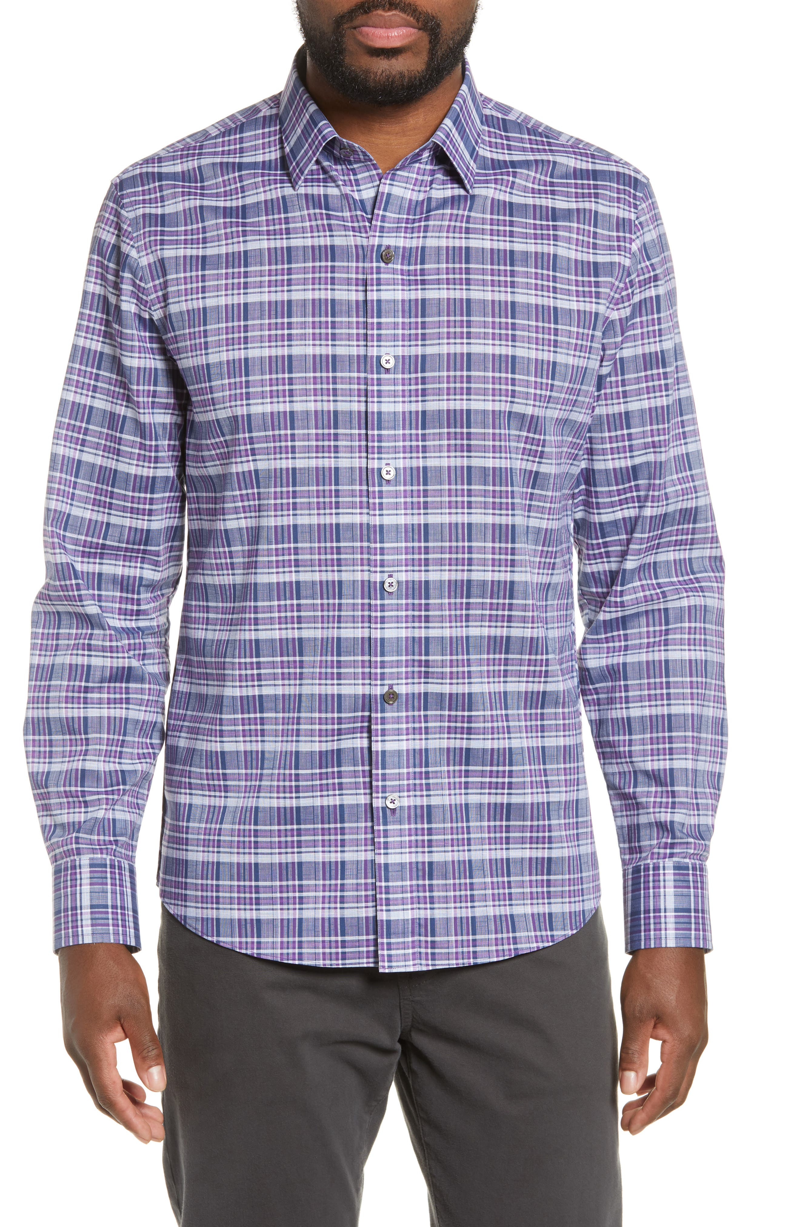 ZACHARY PRELL, Caro Regular Fit Sport Shirt, Main thumbnail 1, color, PURPLE