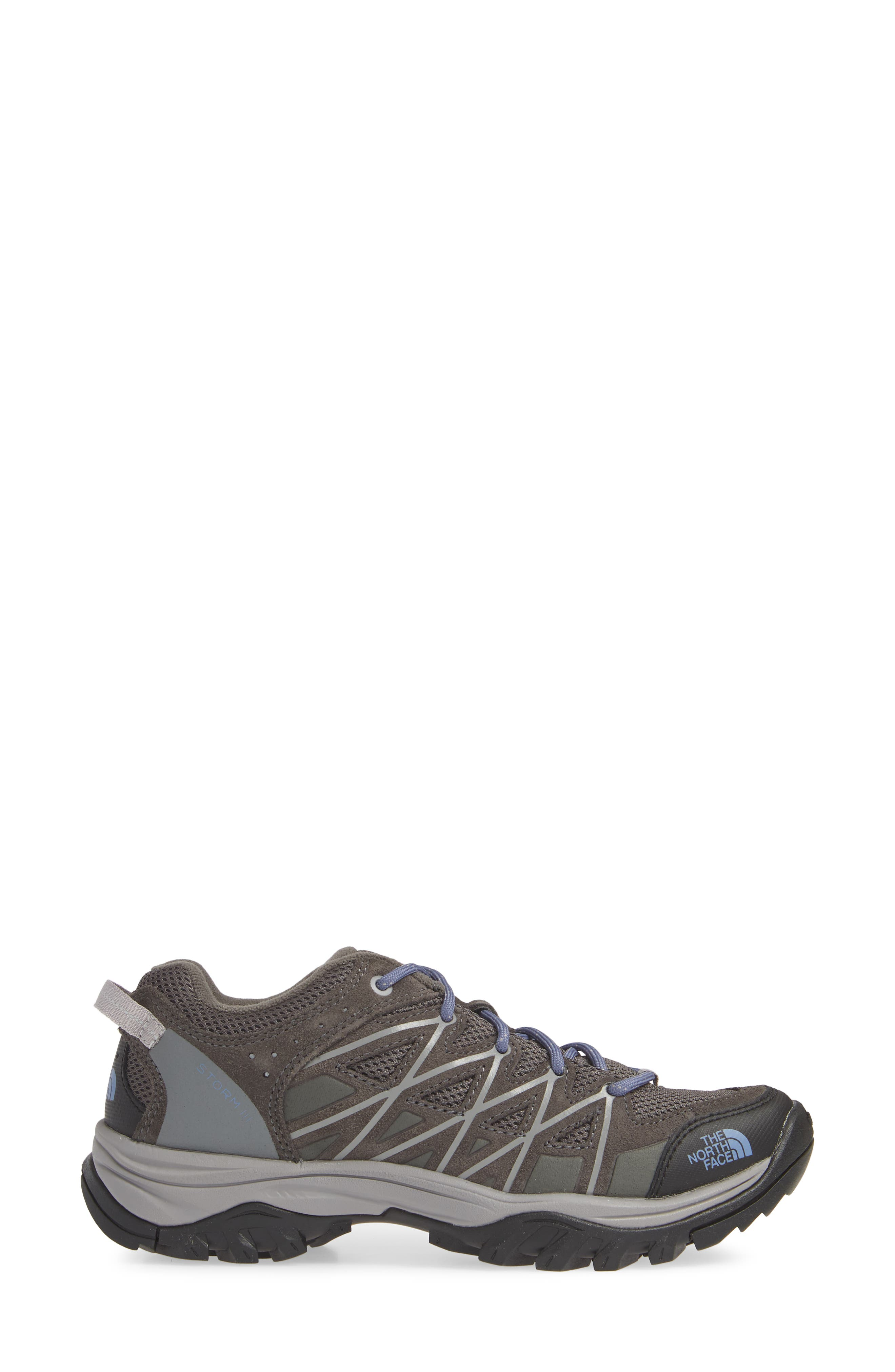 THE NORTH FACE, Storm III Waterproof Hiking Sneaker, Alternate thumbnail 3, color, DARK GULL GREY/ MARLIN BLUE