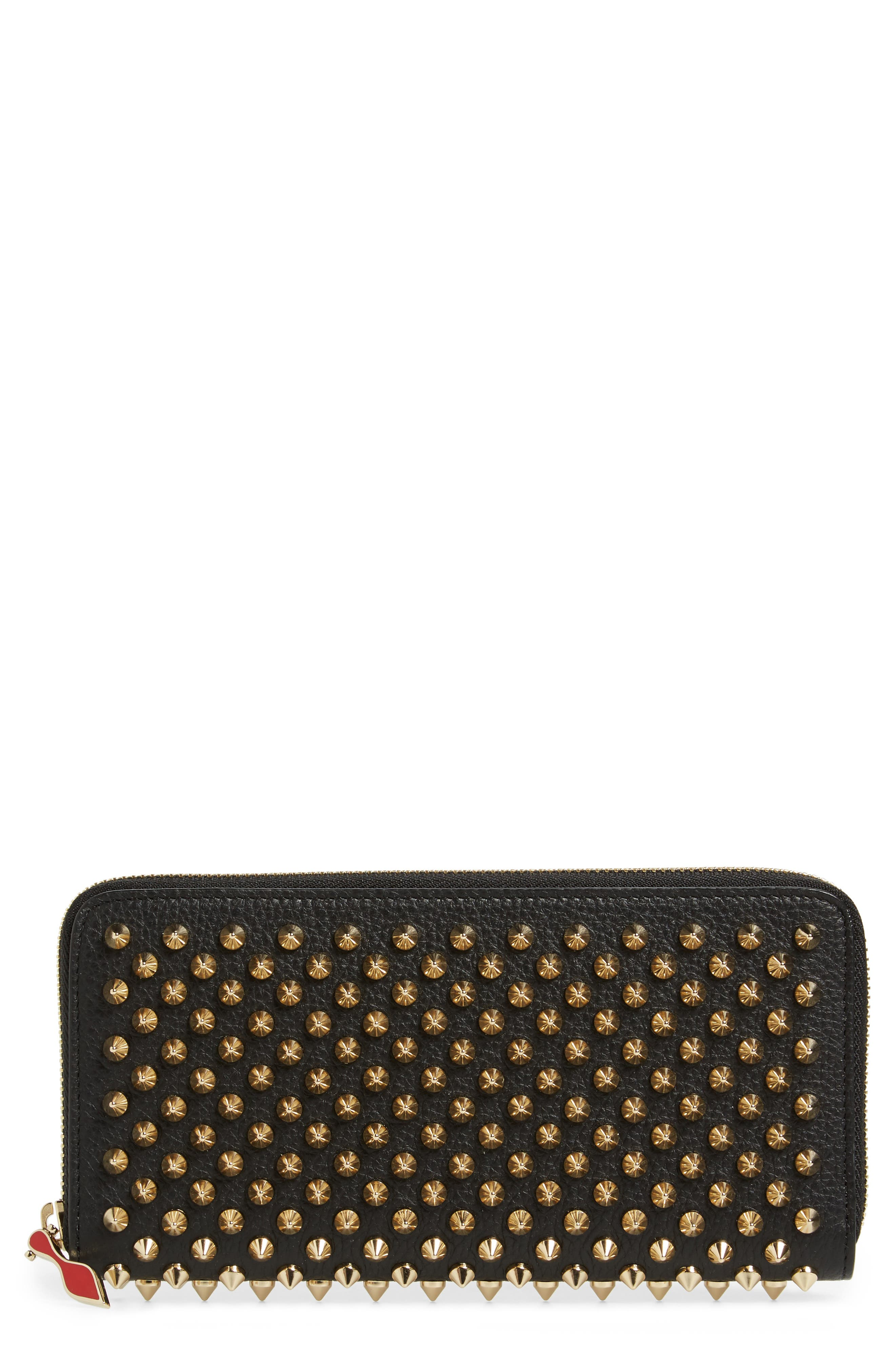 CHRISTIAN LOUBOUTIN Panettone Spiked Calfskin Wallet, Main, color, BLACK/ GOLD