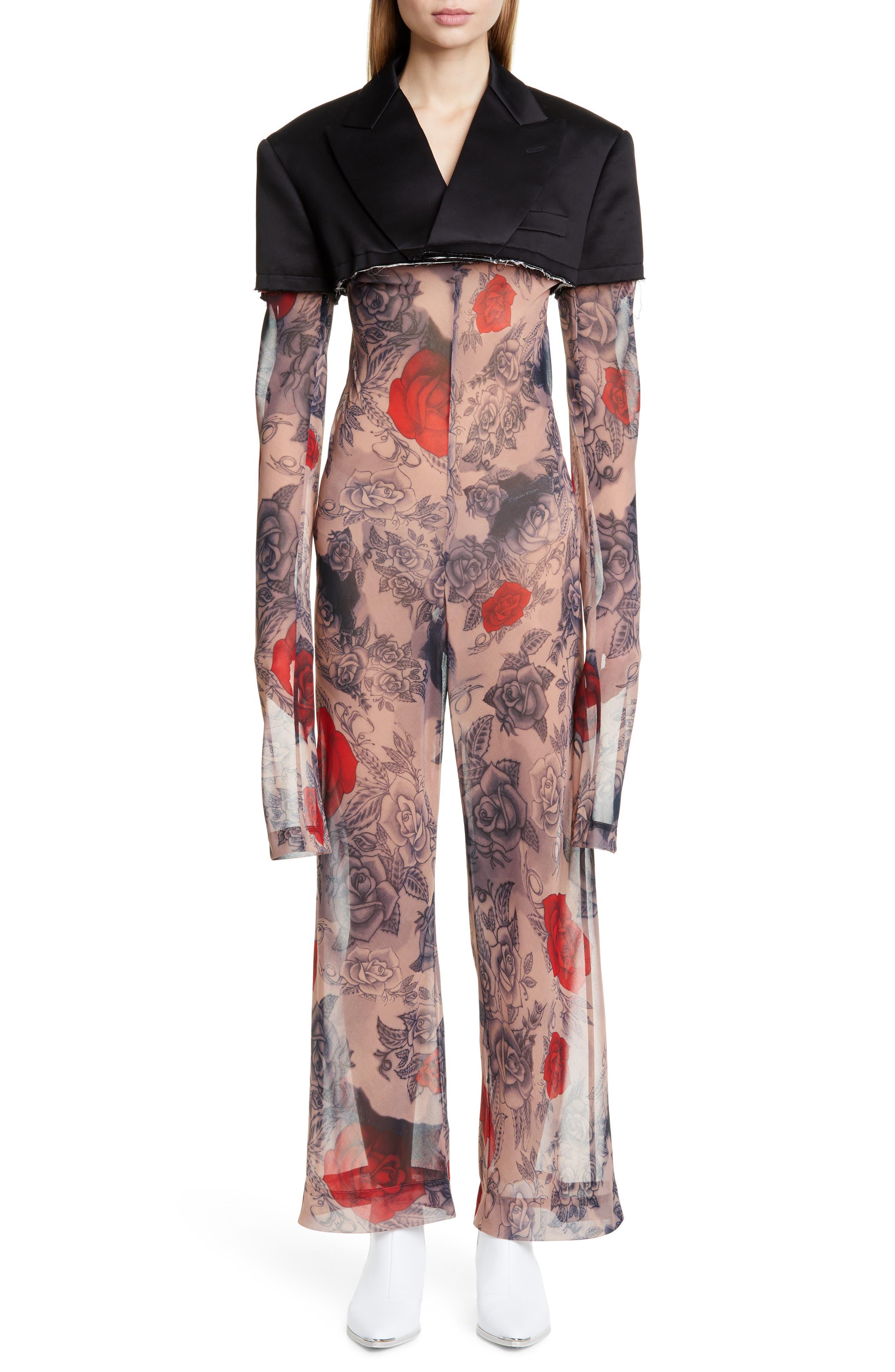 COMME DES GARÇONS Cotton Blazer & Rose Tattoo Mesh Jumpsuit, Main, color, BLACK X F PATTERN