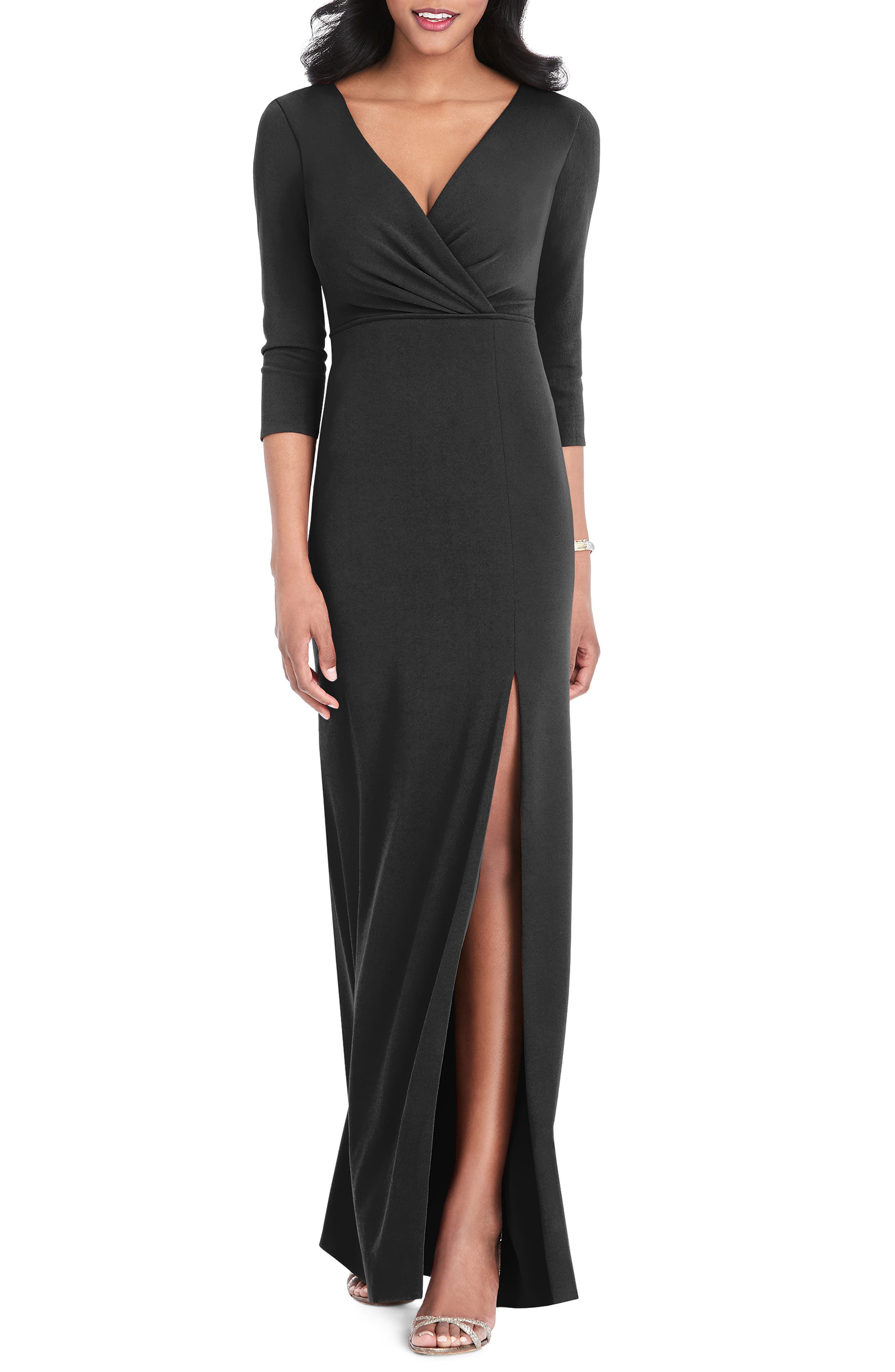After Six Surplice Stretch Crepe Gown, Black