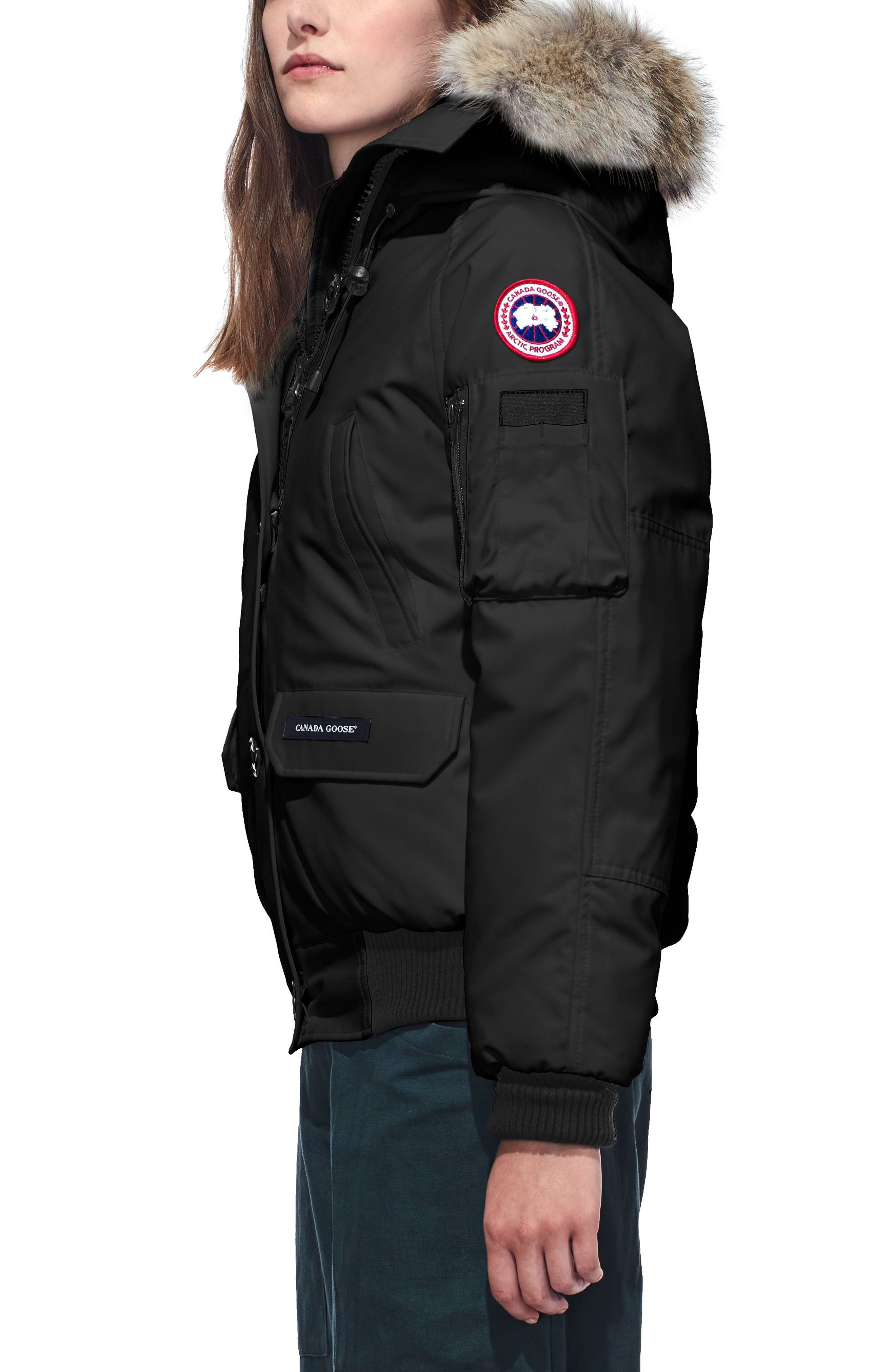 CANADA GOOSE, Chilliwack Fusion Fit 625 Fill Power Down Bomber Jacket with Genuine Coyote Fur Trim, Alternate thumbnail 3, color, BLACK