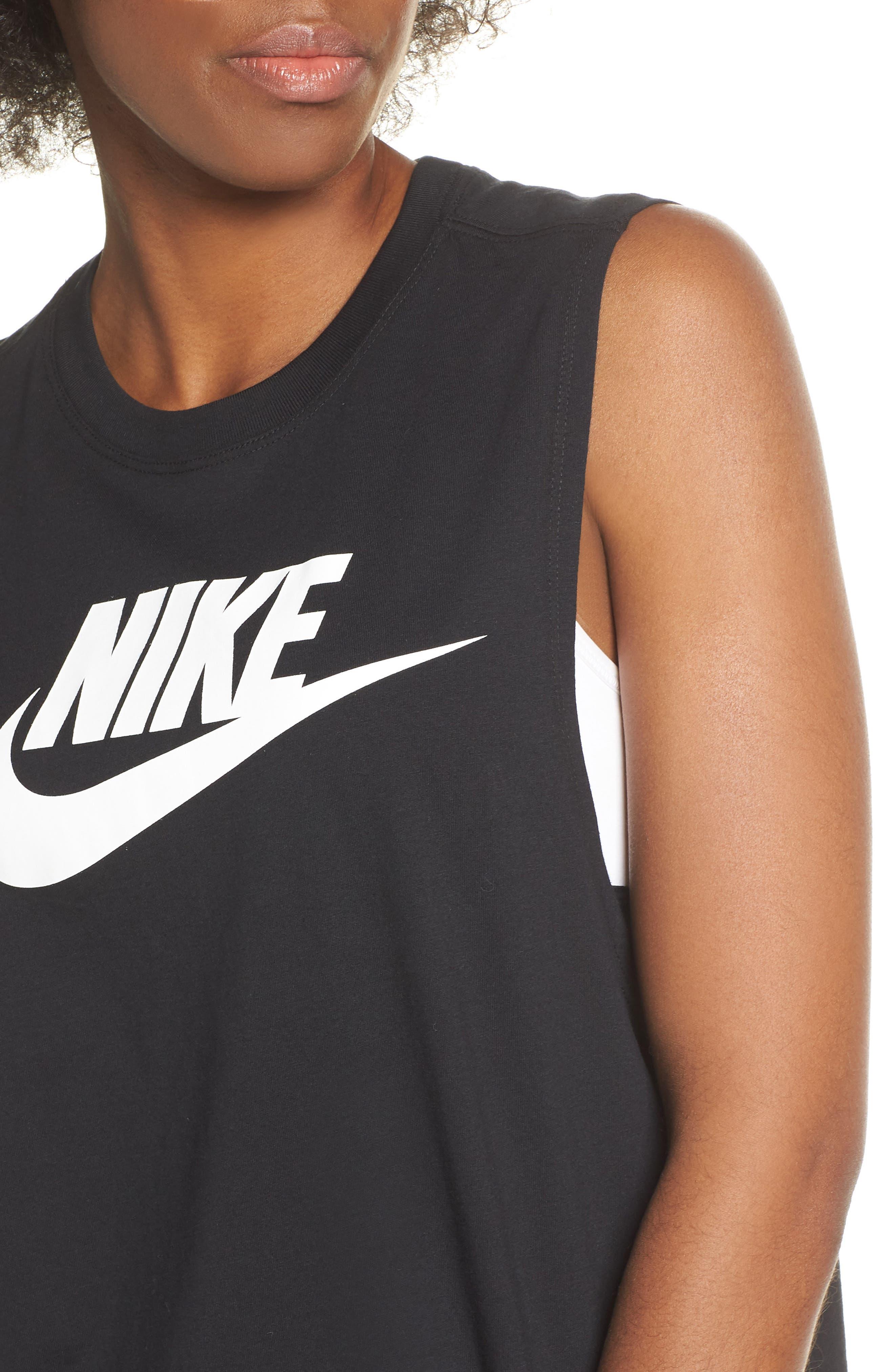 NIKE, Sportswear Essential Futura Muscle Tank, Alternate thumbnail 5, color, BLACK/ WHITE
