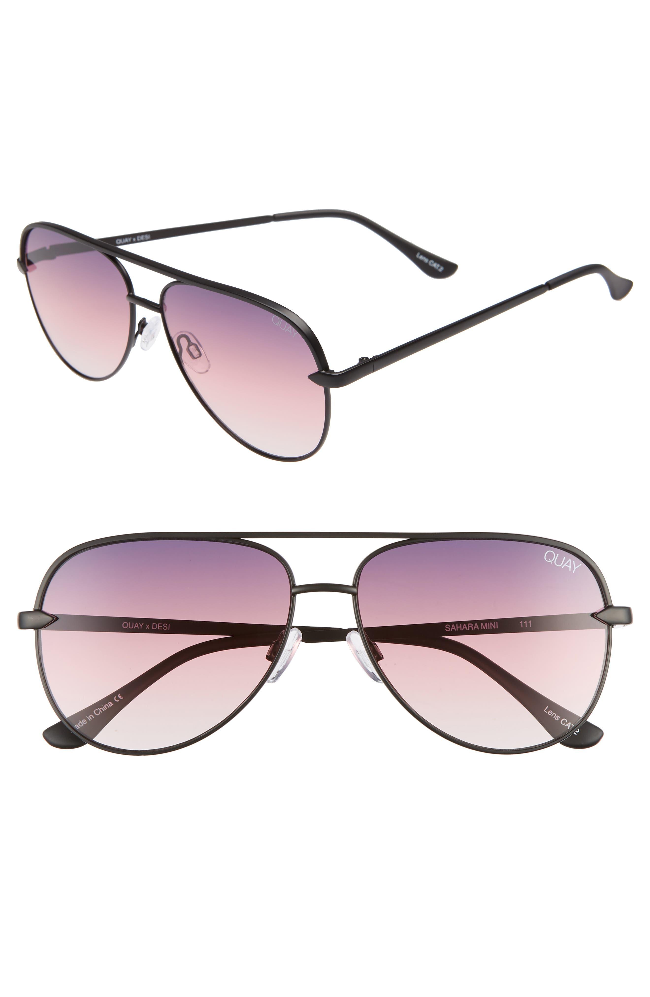QUAY AUSTRALIA x Desi Perkins Sahara Mini 52mm Aviator Sunglasses, Main, color, BLACK/ PURPLE FADE