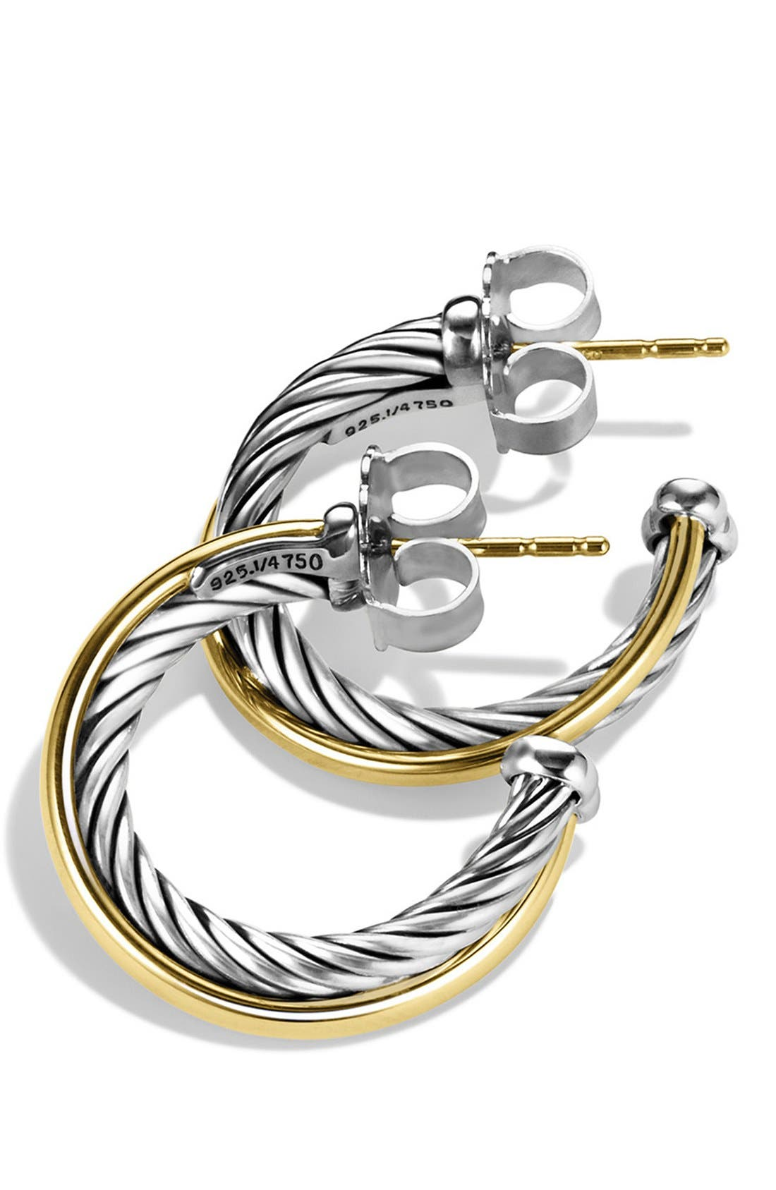 DAVID YURMAN, 'Crossover' Small Hoop Earrings with Gold, Alternate thumbnail 3, color, TWO TONE