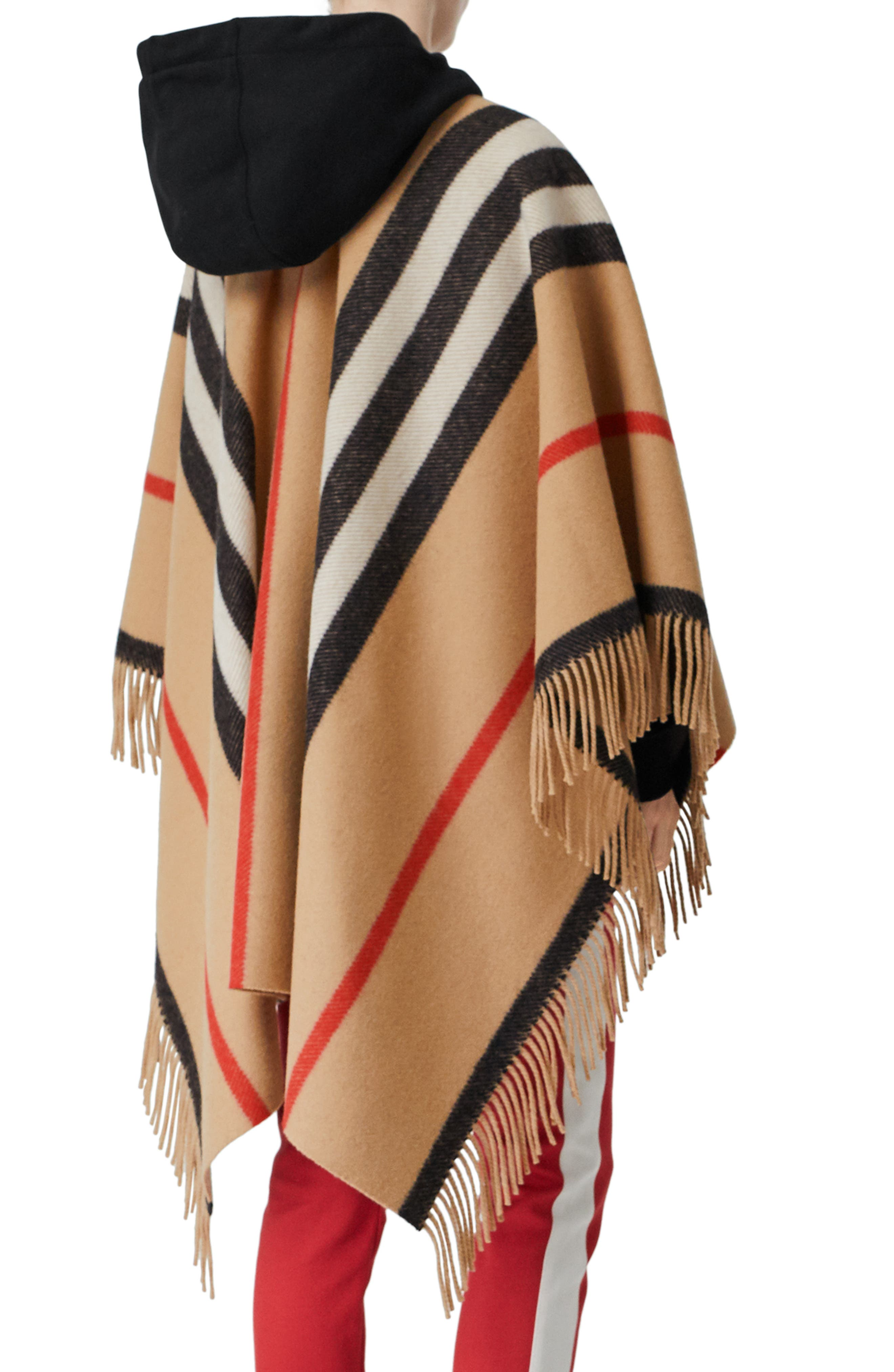 BURBERRY, Stripe Fringe Wool Cape, Alternate thumbnail 2, color, CAMEL