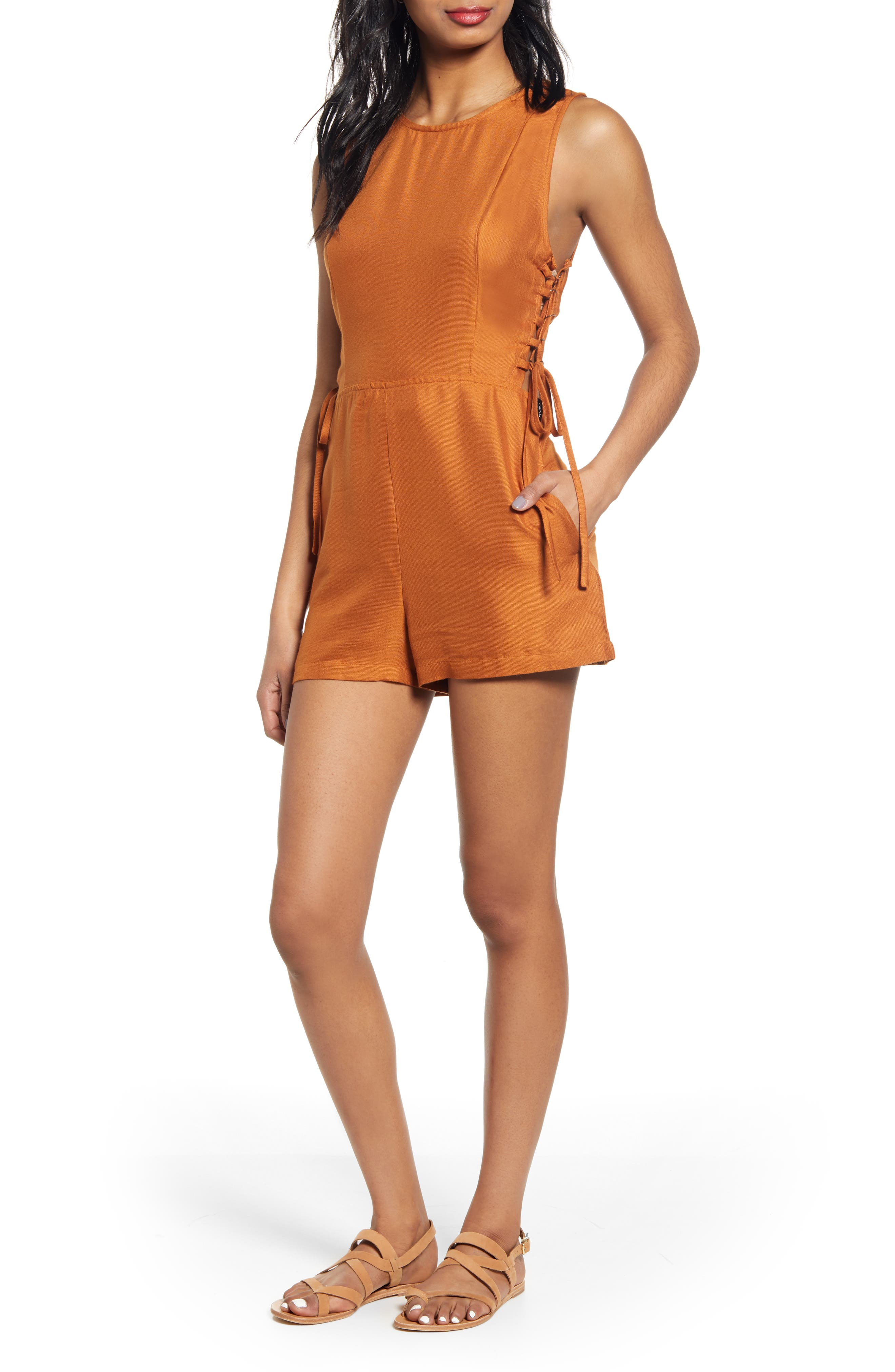 RVCA Freddie Lace-Up Romper, Main, color, GINGER