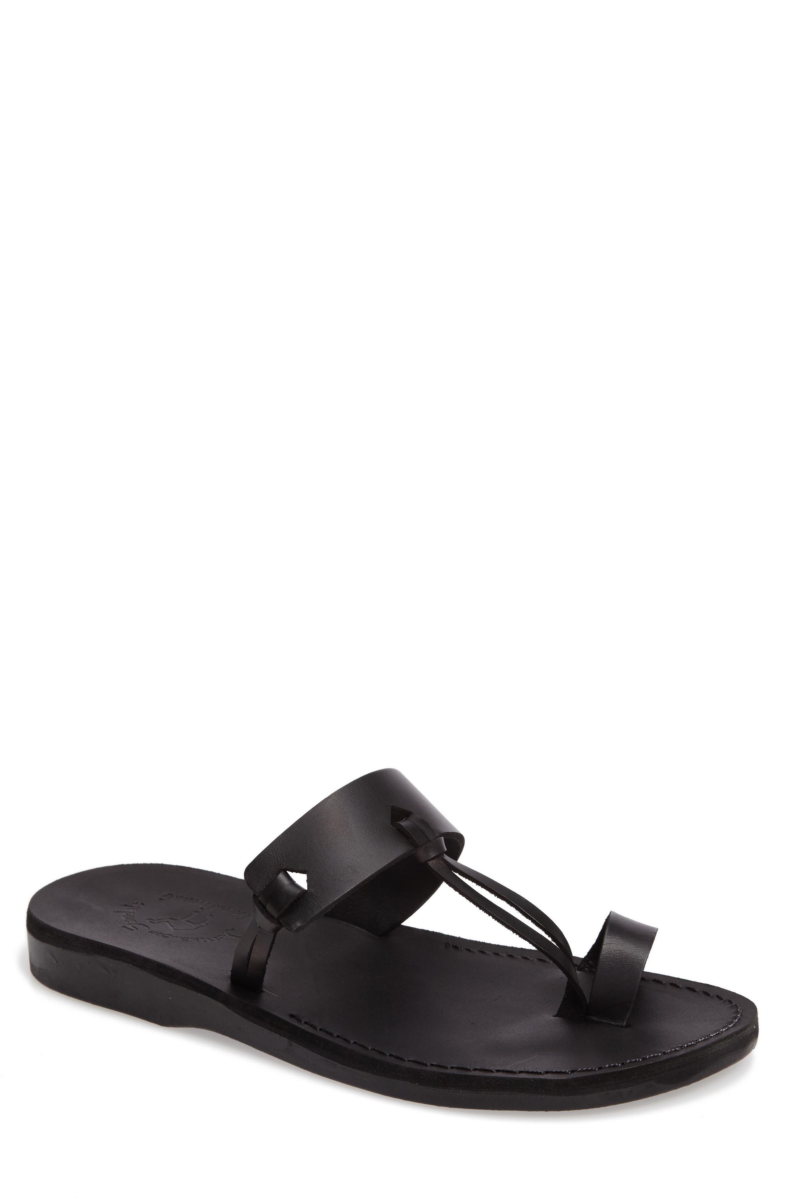 JERUSALEM SANDALS, David Toe-Loop Sandal, Main thumbnail 1, color, BLACK LEATHER