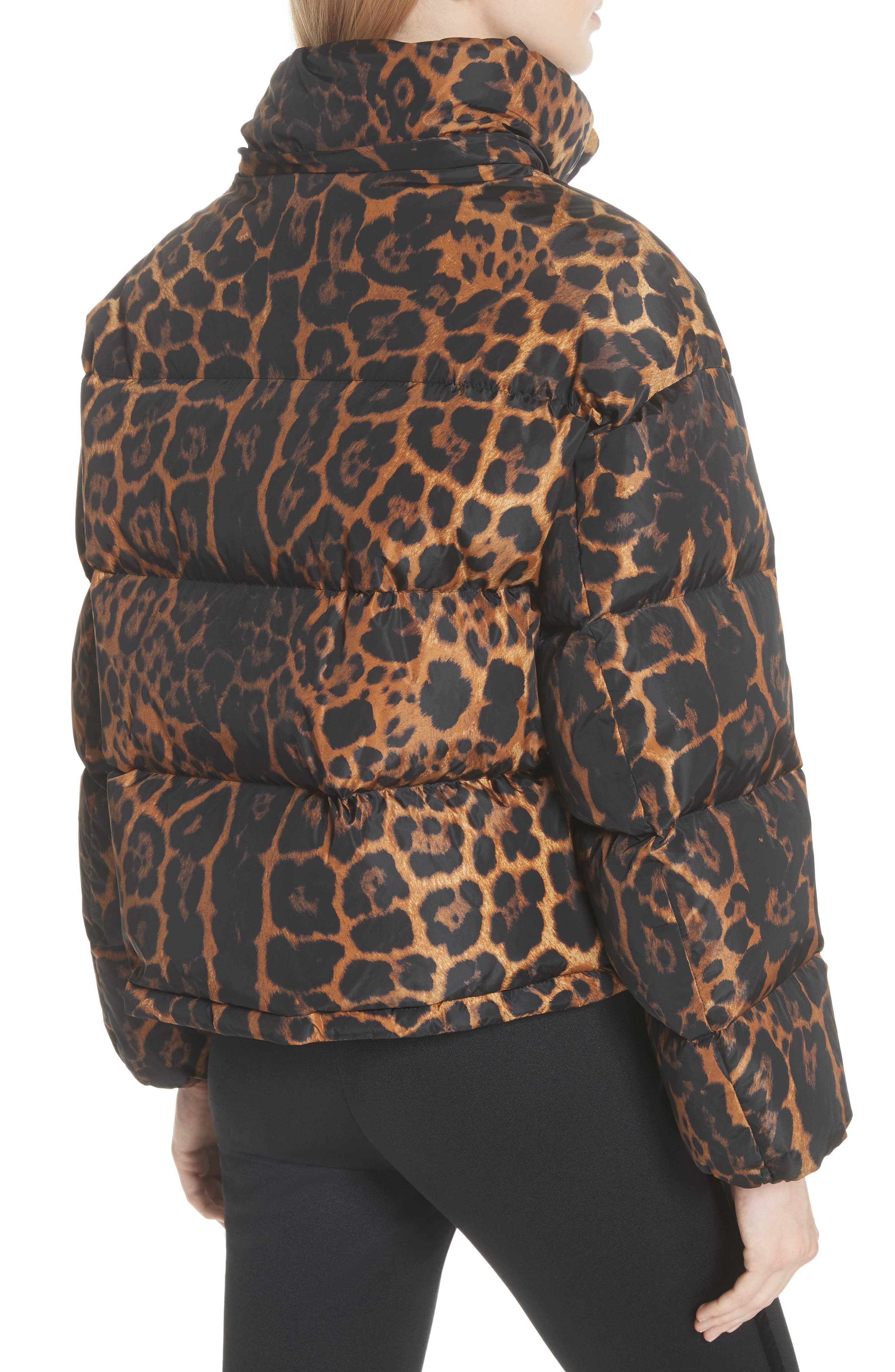 MONCLER, Caille Leopard Print Down Puffer Jacket, Alternate thumbnail 2, color, 240
