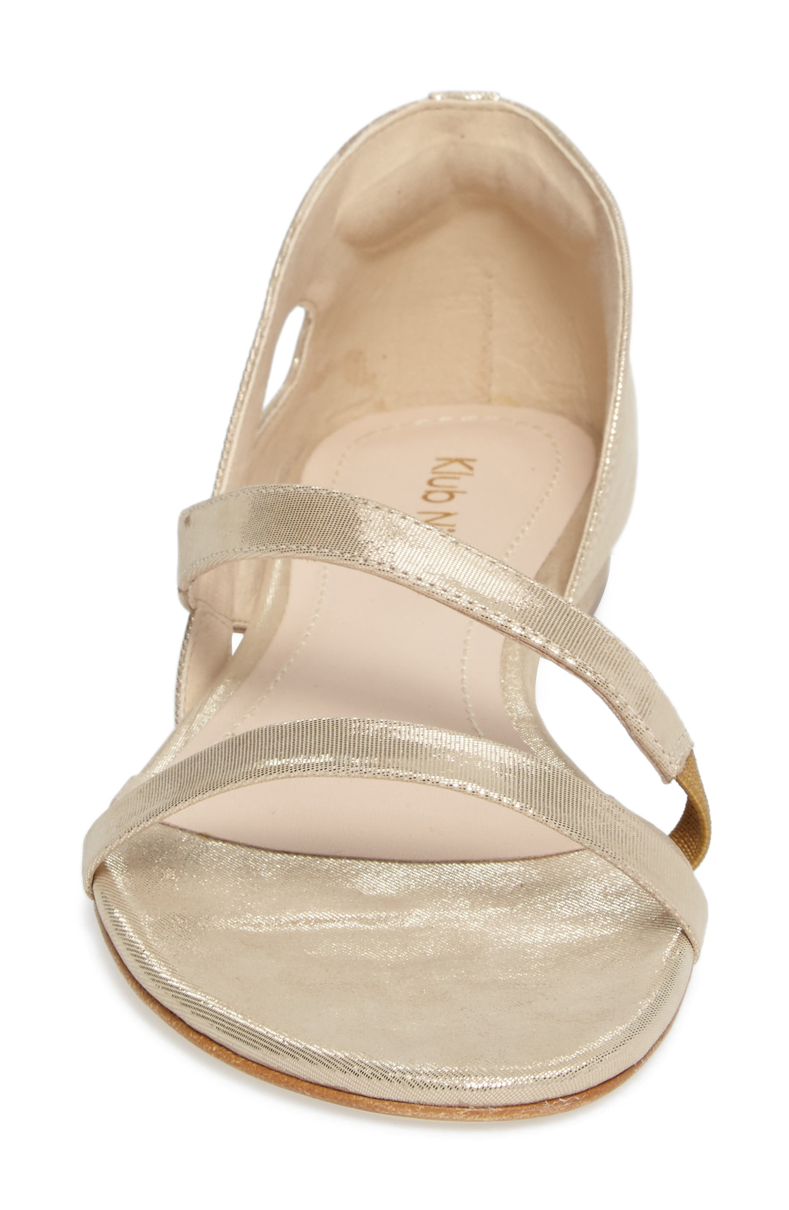 KLUB NICO, Jeanne Sandal, Alternate thumbnail 4, color, CHAMPAGNE LEATHER