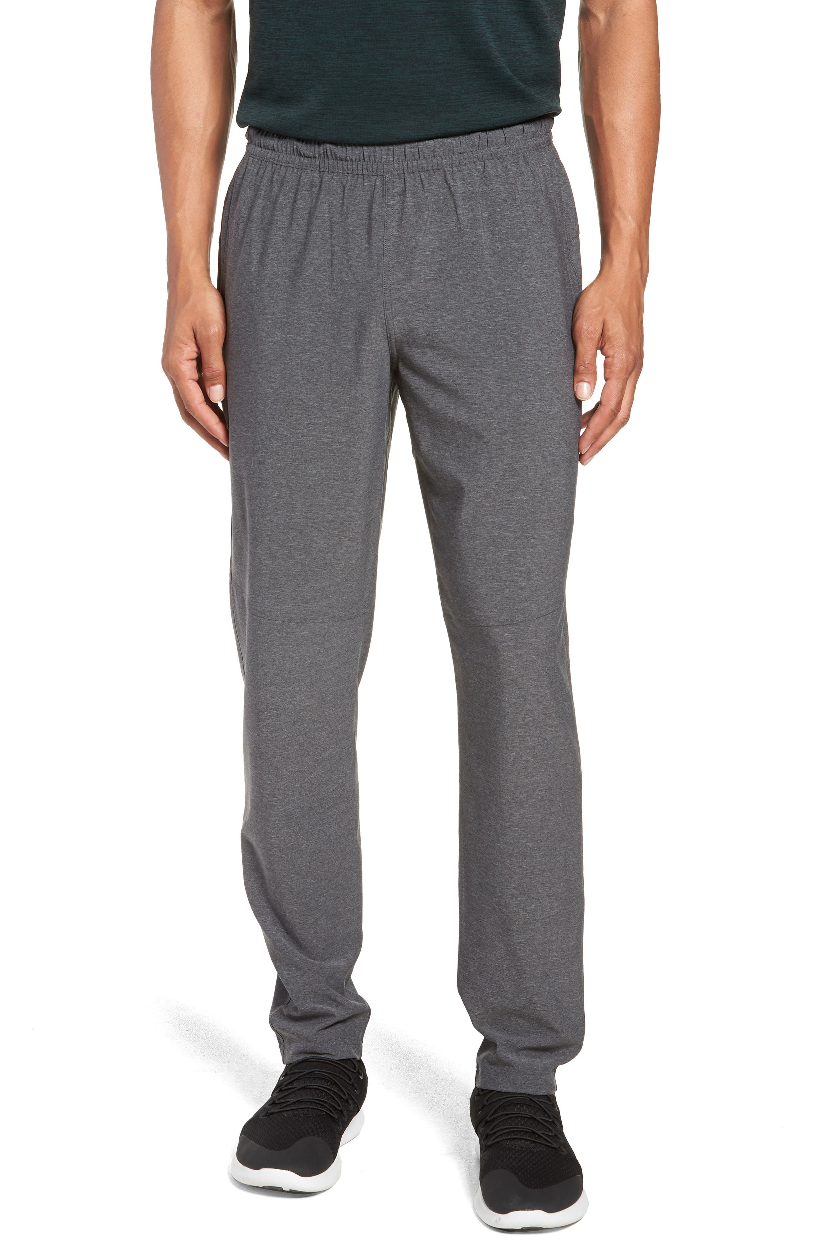 ZELLA, Tapered Stretch Track Pants, Main thumbnail 1, color, GREY OBSIDIAN MELANGE