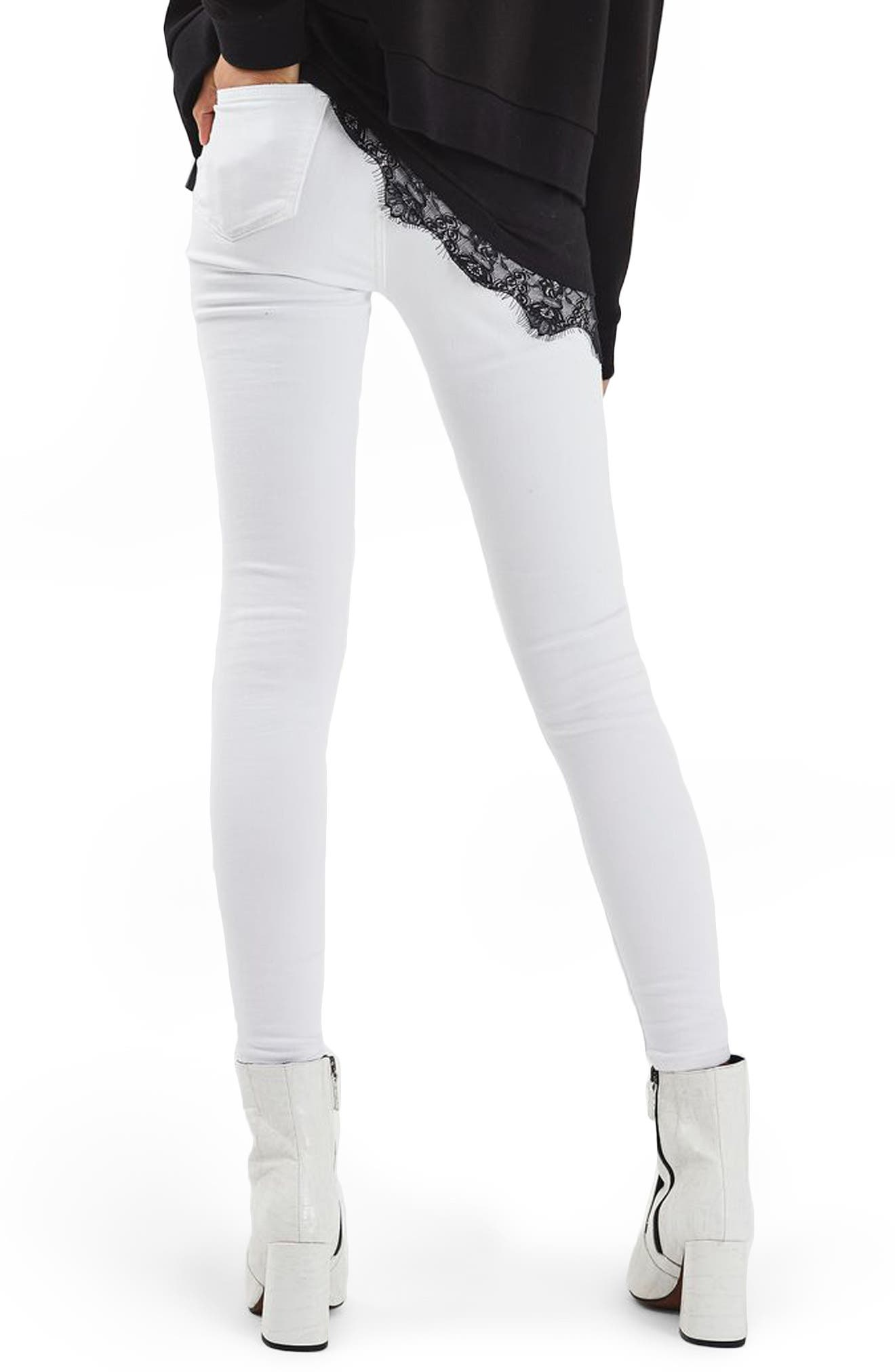 TOPSHOP, Jamie Ripped Skinny Jeans, Alternate thumbnail 2, color, 100