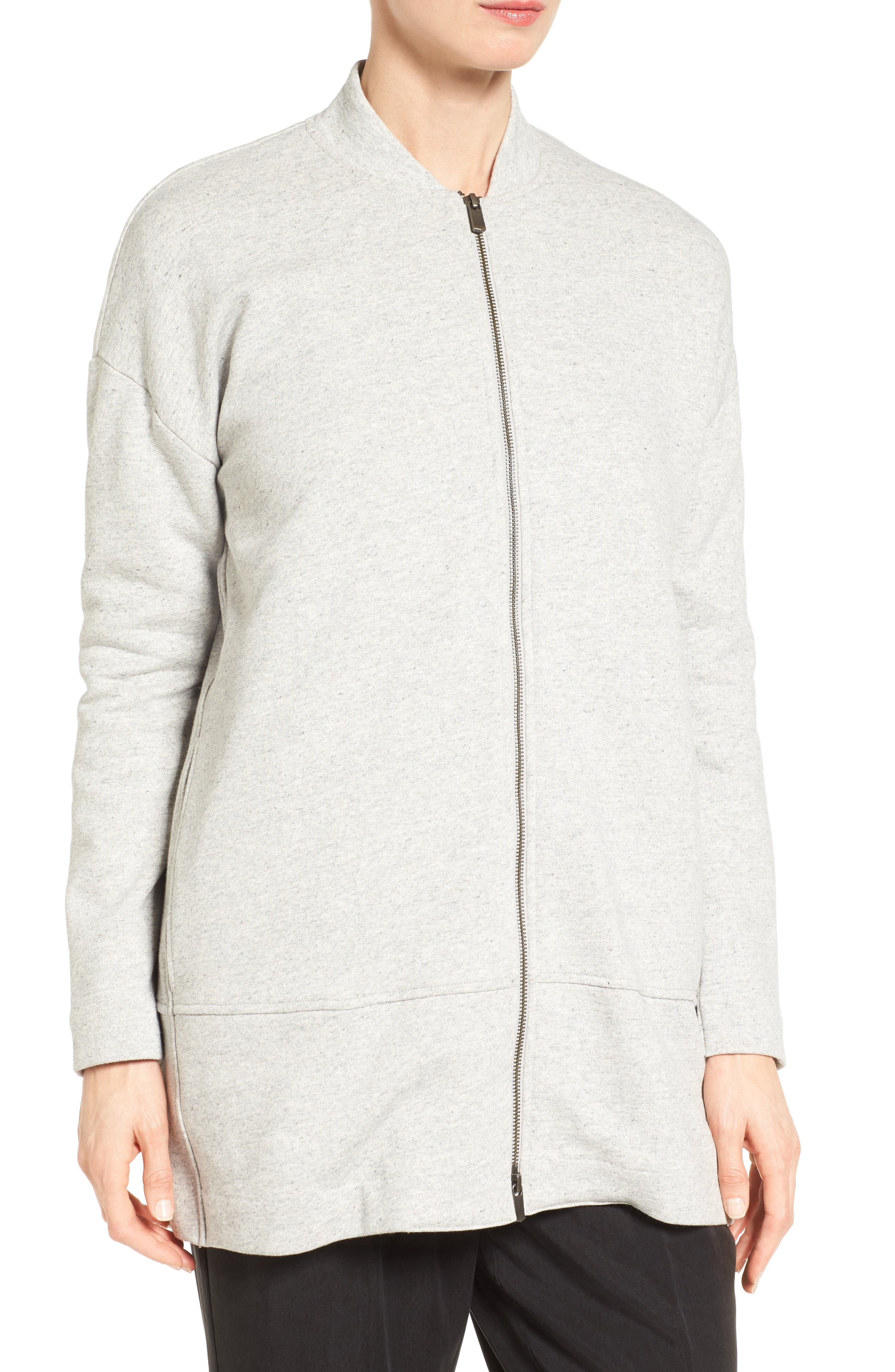 EILEEN FISHER, Brushed Back French Terry Jacket, Alternate thumbnail 5, color, DARK PEARL