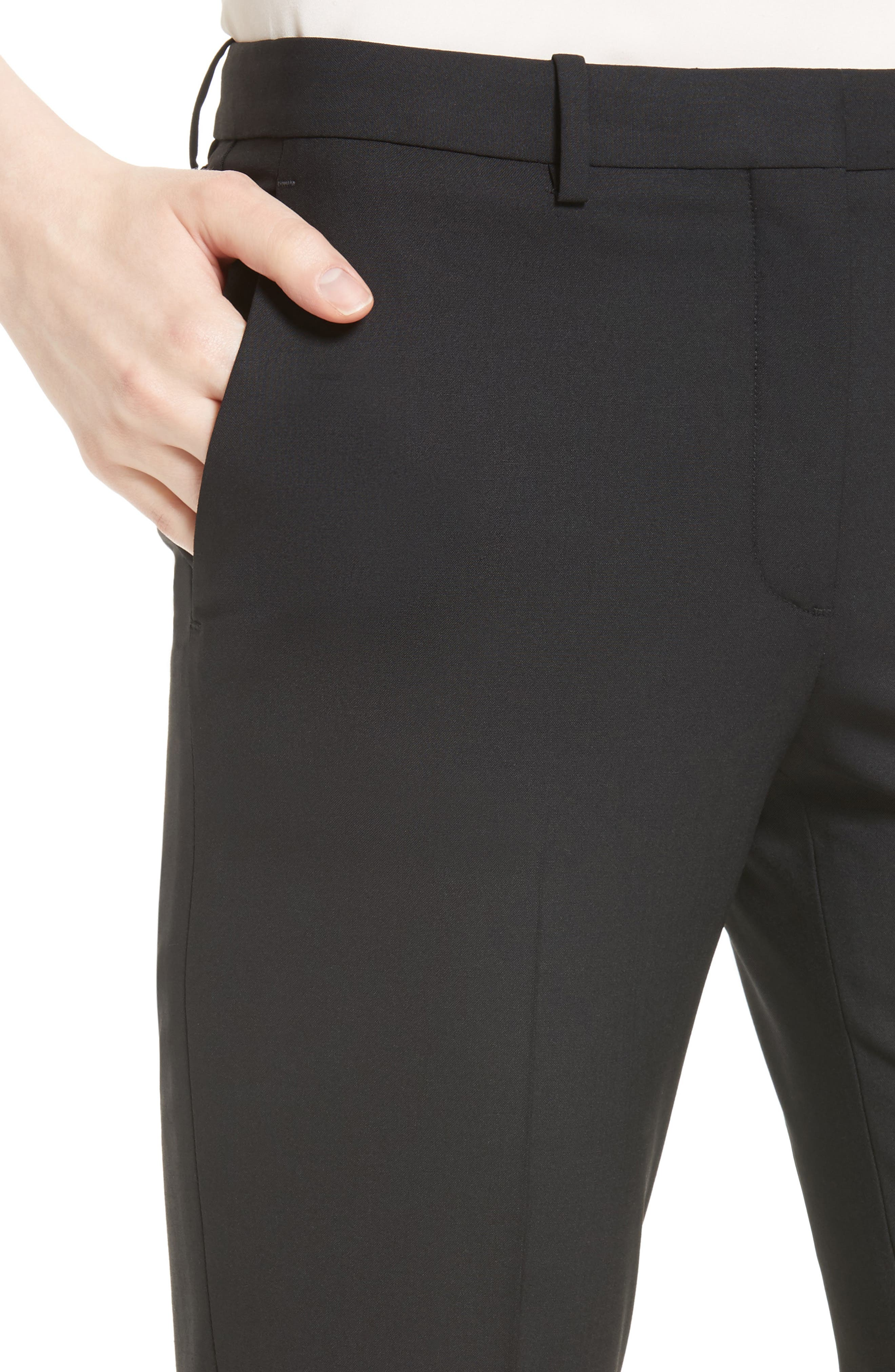 THEORY, Hartsdale B Good Wool Suit Pants, Alternate thumbnail 4, color, 001