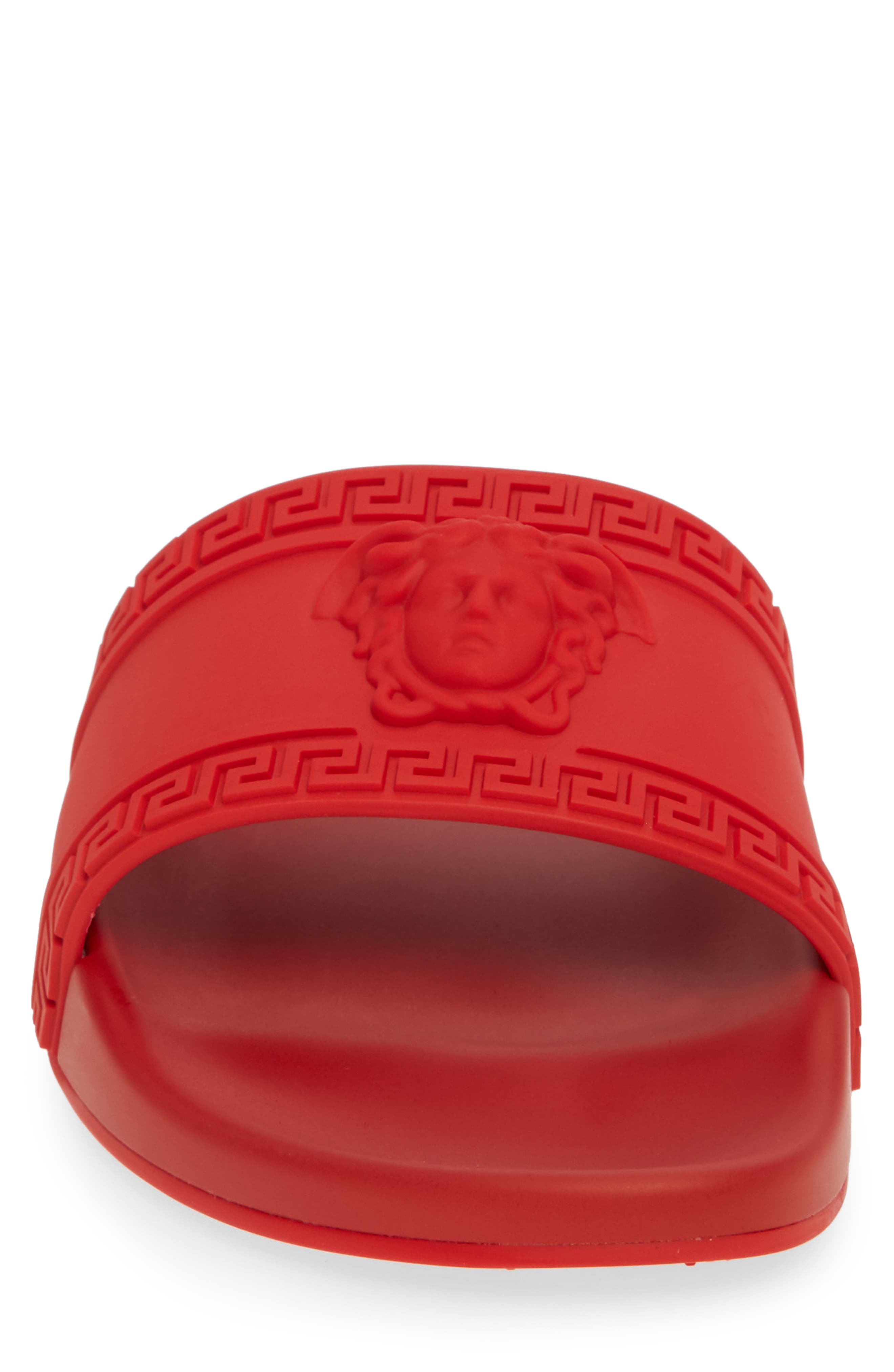 VERSACE, Palazzo Medusa Slide Sandal, Alternate thumbnail 4, color, RED