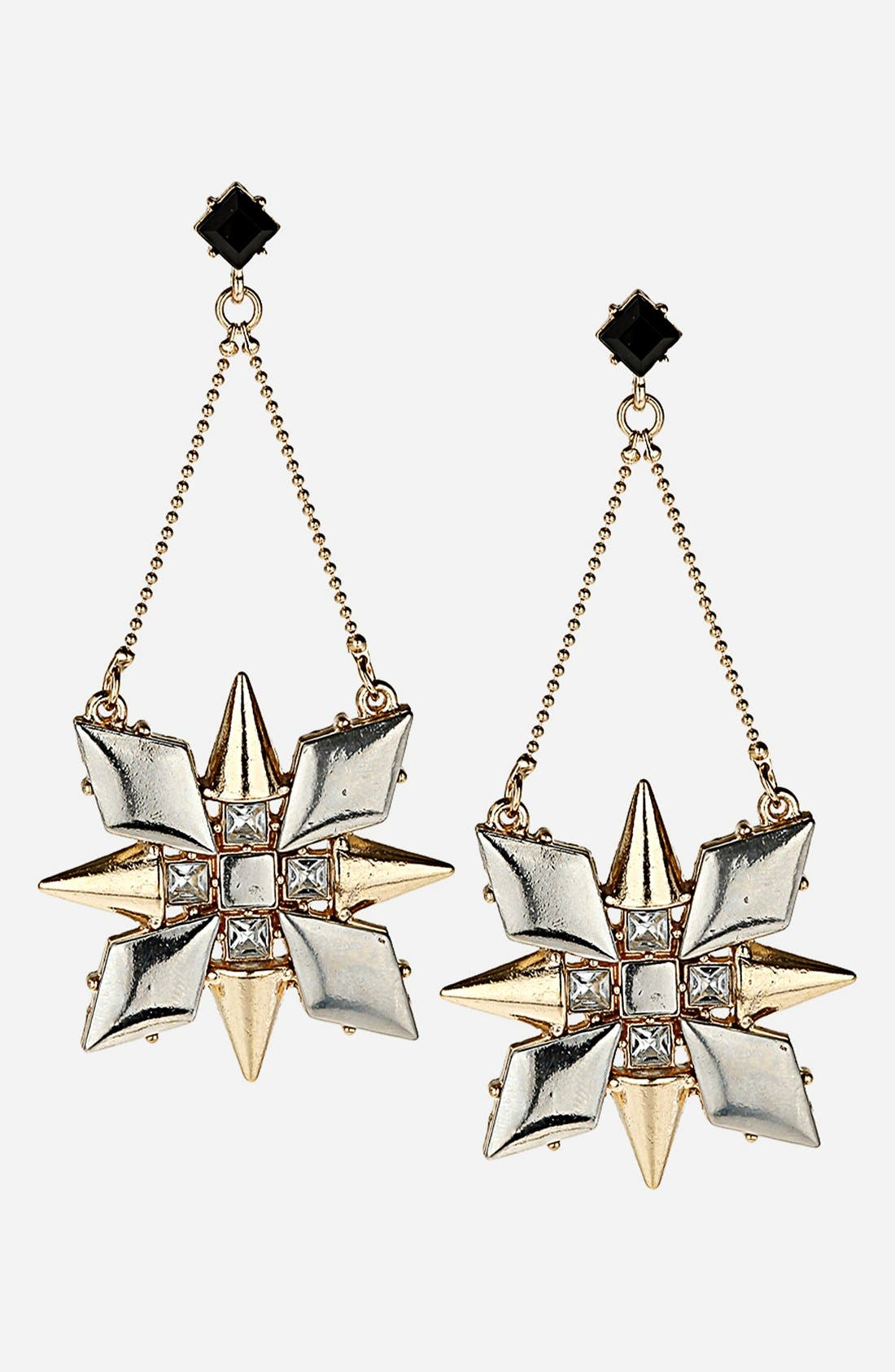 TOPSHOP, 'Stud Flower' Drop Earrings, Main thumbnail 1, color, 710