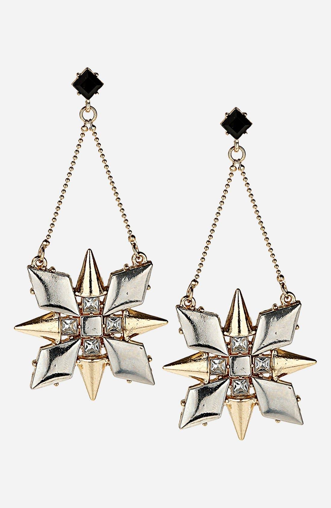 TOPSHOP 'Stud Flower' Drop Earrings, Main, color, 710