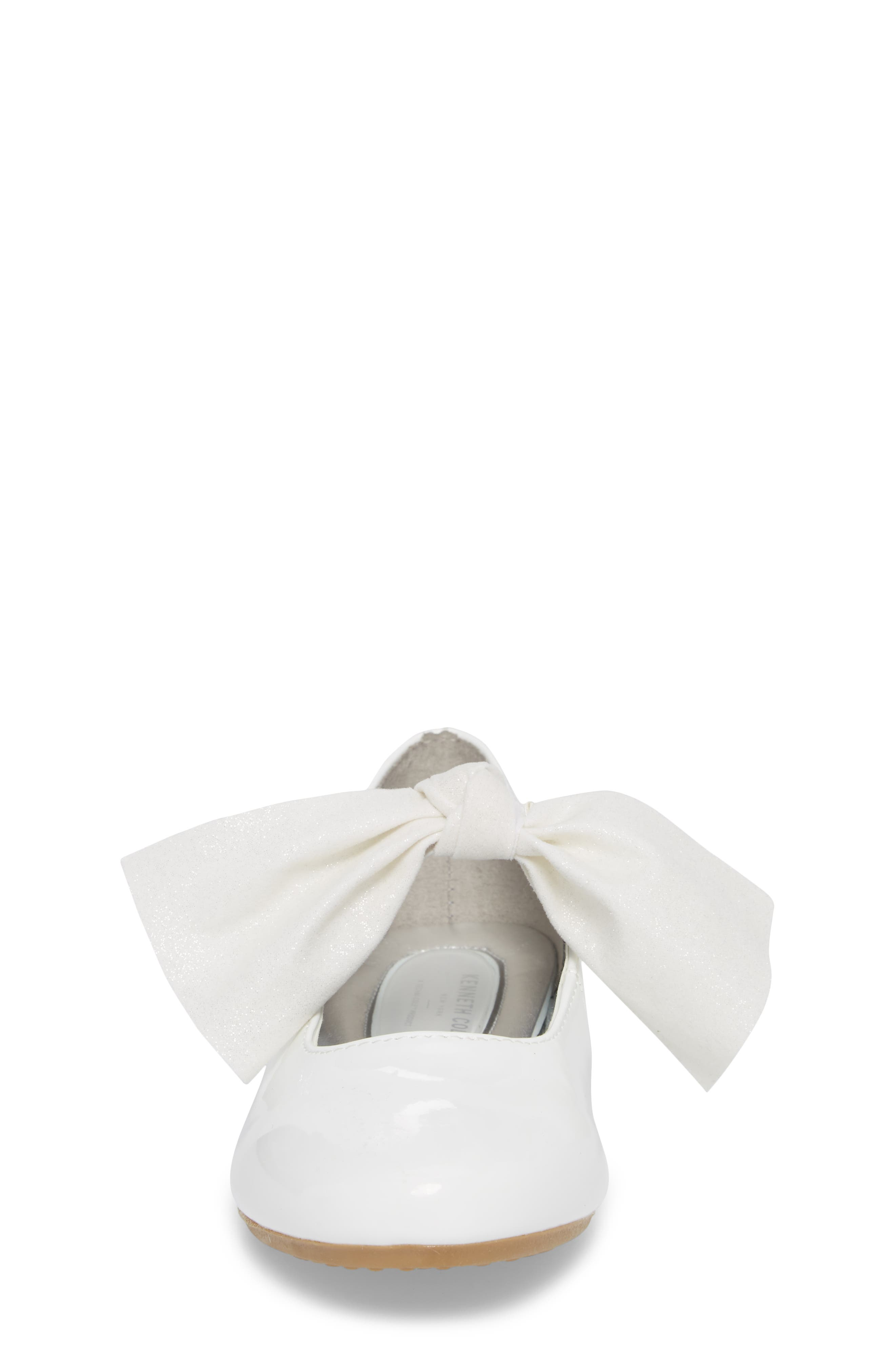 KENNETH COLE NEW YORK, Reaction Kenneth Cole Rose Bow Mary Jane Flat, Alternate thumbnail 4, color, WHITE PATENT