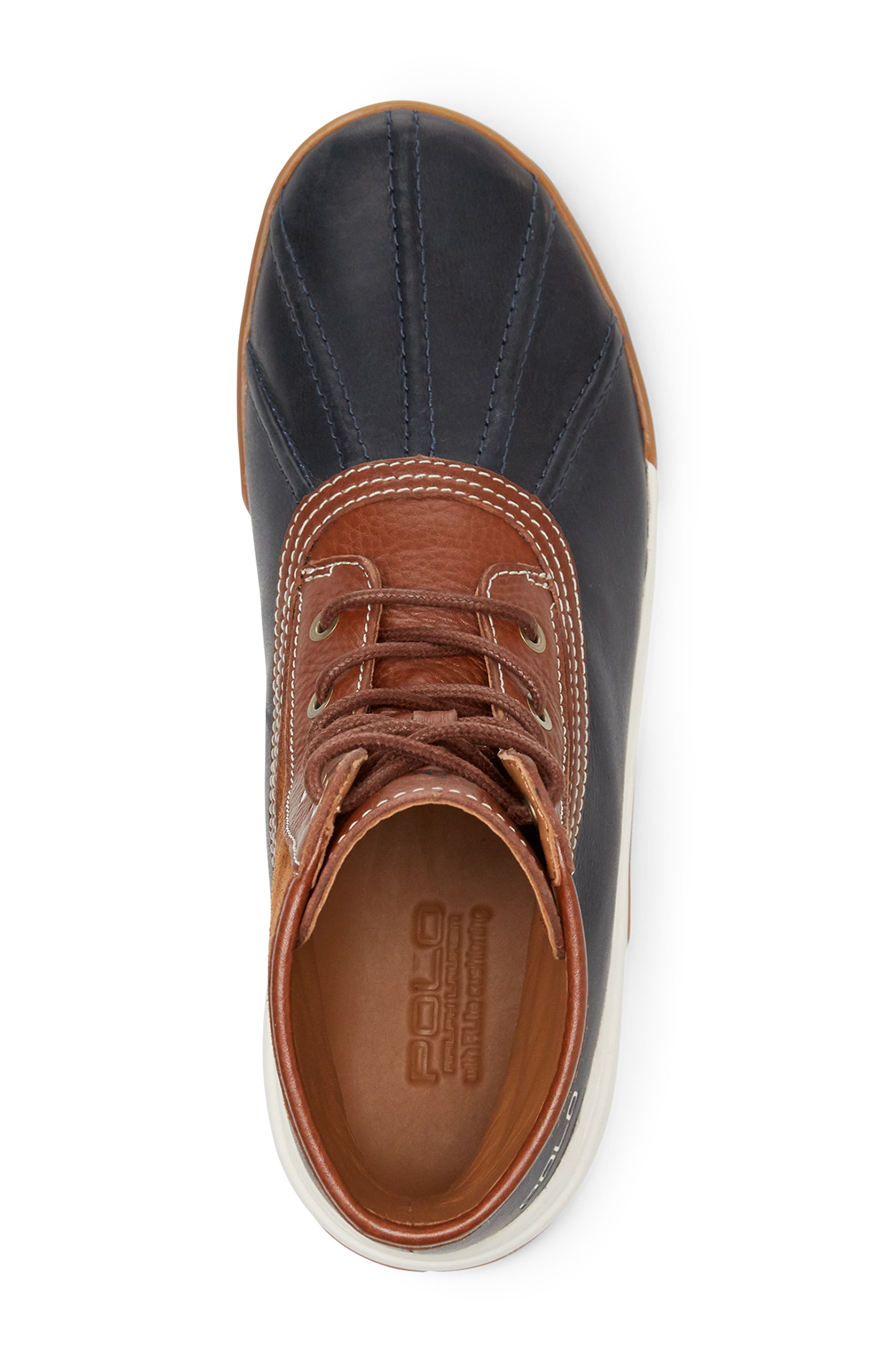 POLO RALPH LAUREN, Declan Water Repellent Duck Boot, Alternate thumbnail 3, color, SNUFF/ NAVY LEATHER