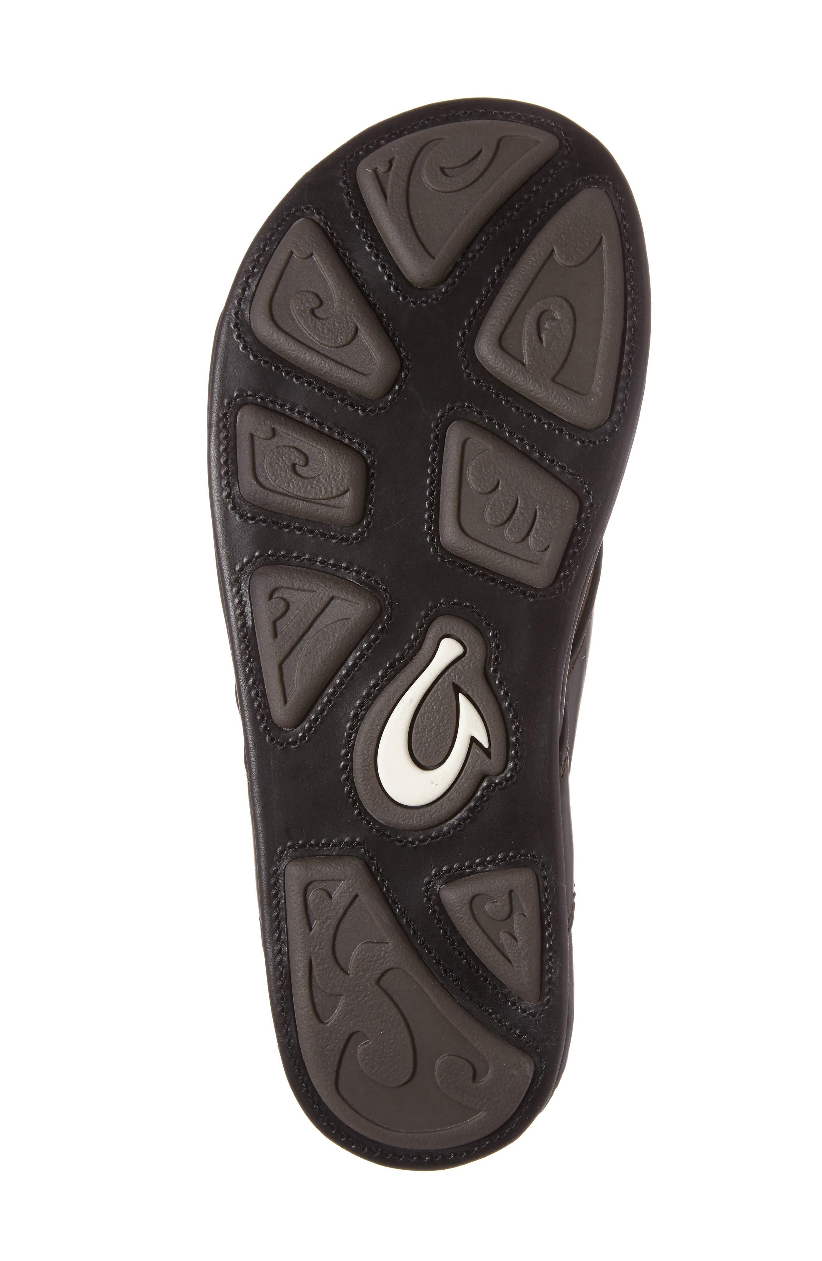 OLUKAI, Waimea Flip Flop, Alternate thumbnail 4, color, BLACK/ BLACK LEATHER