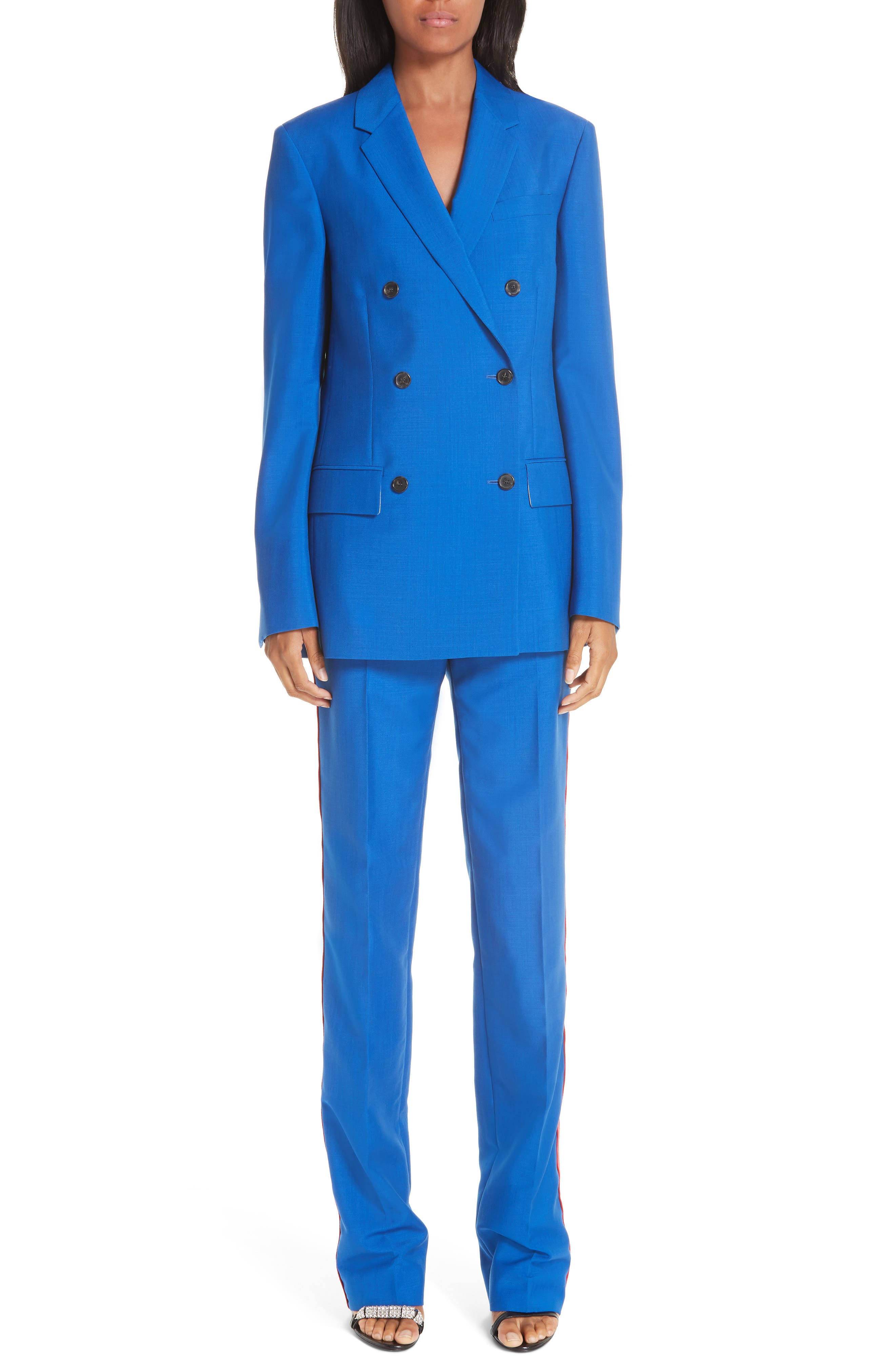CALVIN KLEIN 205W39NYC, Mohair & Wool Double Breasted Blazer, Alternate thumbnail 7, color, BRIGHT BLUE