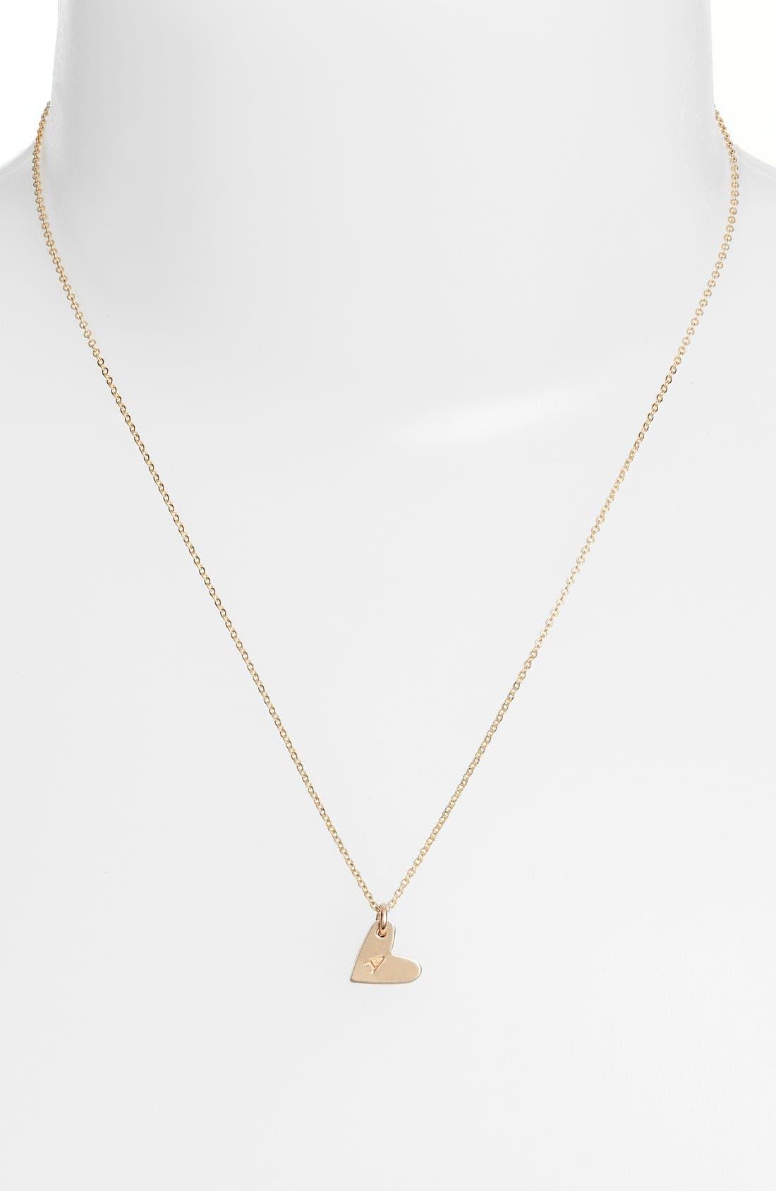 NASHELLE, 14k-Gold Fill Initial Mini Heart Pendant Necklace, Alternate thumbnail 2, color, GOLD/ A