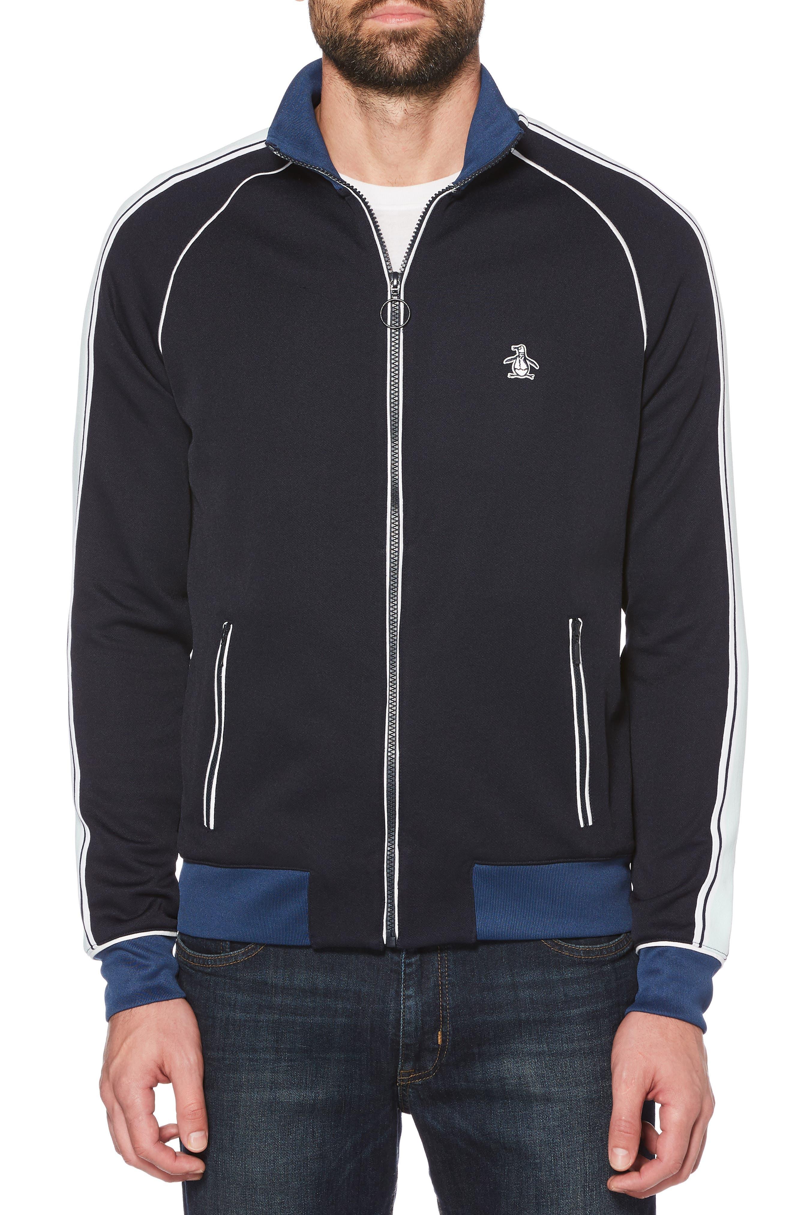 ORIGINAL PENGUIN Applied Track Jacket, Main, color, DARK SAPPHIRE