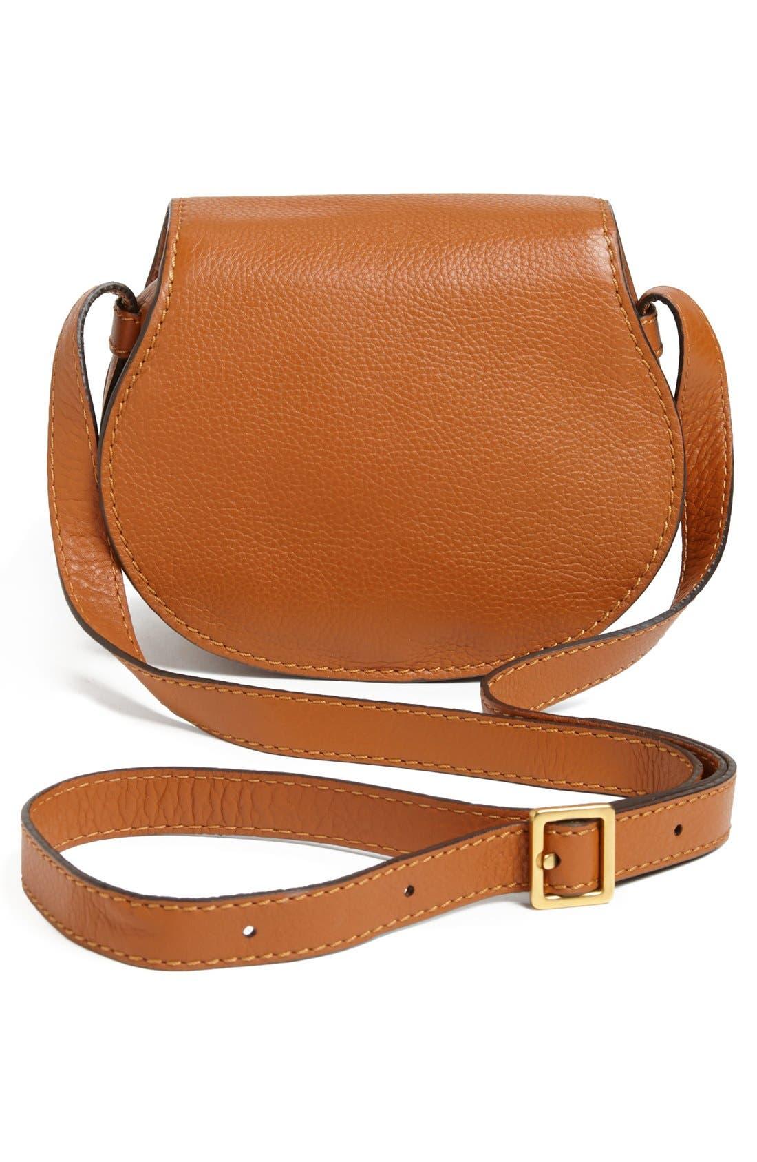 CHLOÉ, 'Mini Marcie' Leather Crossbody Bag, Alternate thumbnail 3, color, TAN GOLD HRDWRE