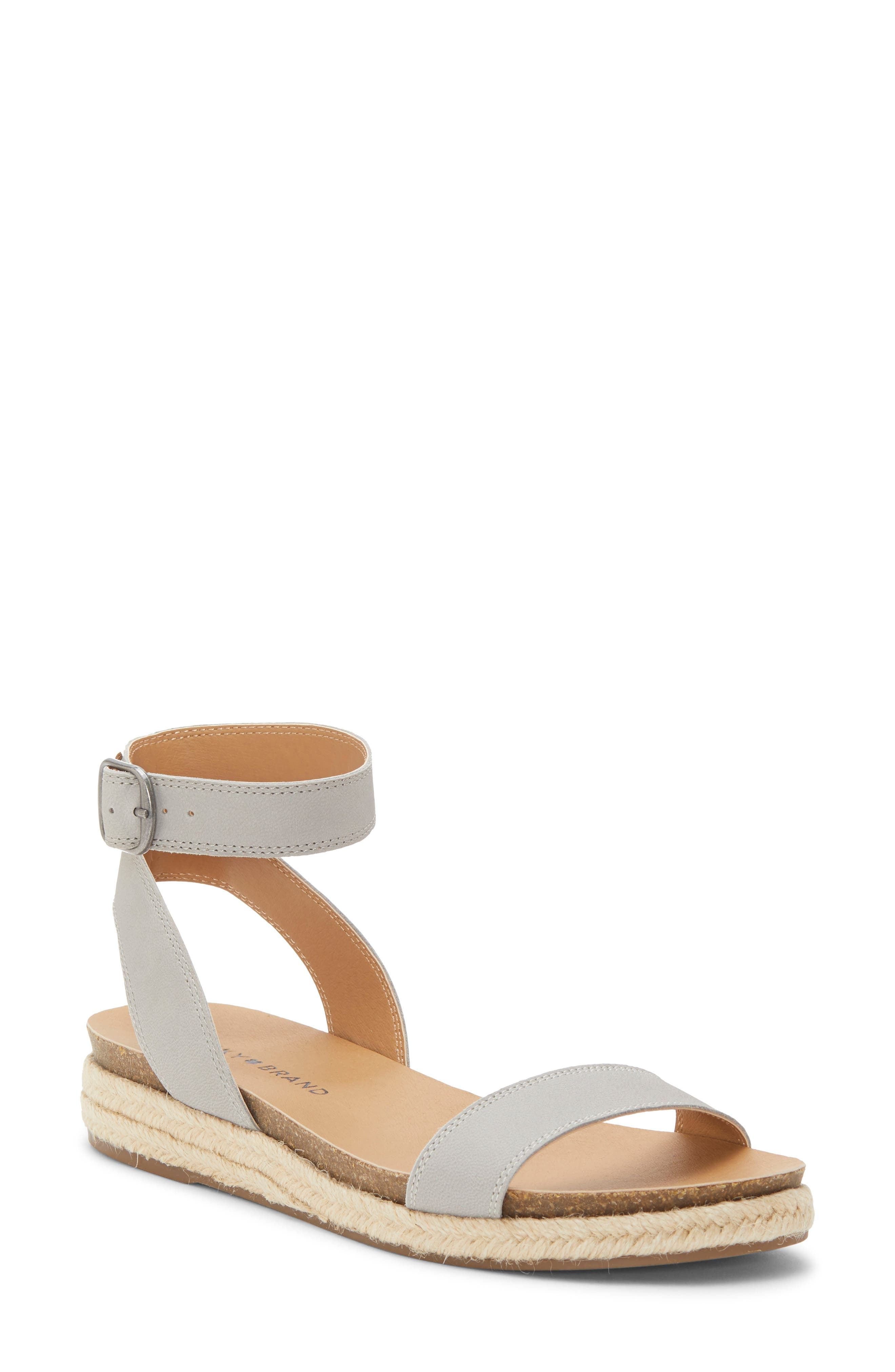 LUCKY BRAND Garston Espadrille Sandal, Main, color, CHINCHILLA LEATHER