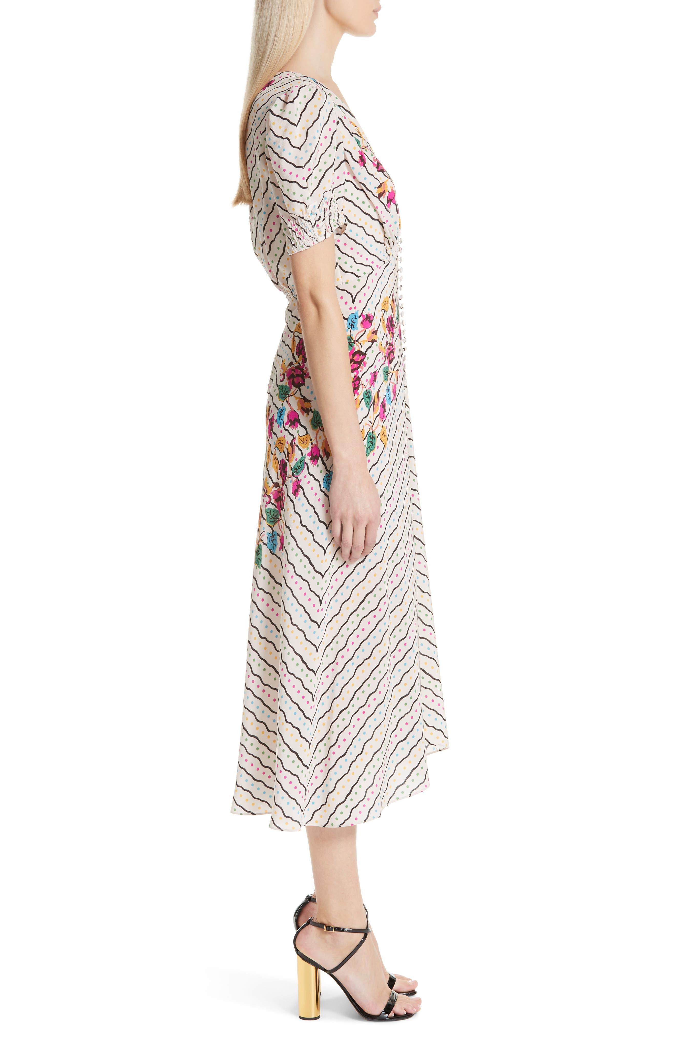 SALONI, Lea Silk Midi Dress, Alternate thumbnail 4, color, JAPONICA WIGGLE PLACEMENT