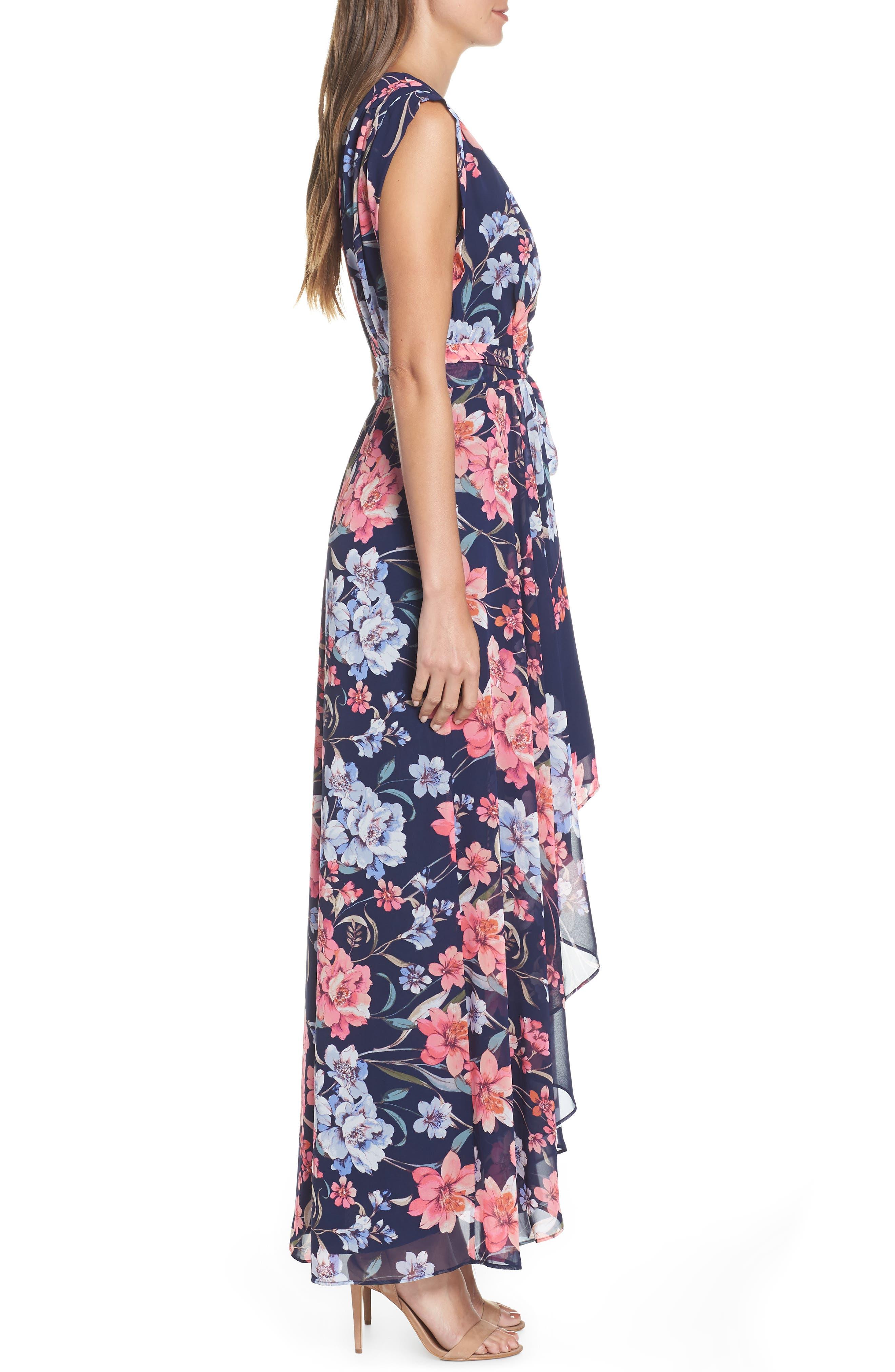 ELIZA J, Floral High/Low Faux Wrap Chiffon Dress, Alternate thumbnail 4, color, NAVY
