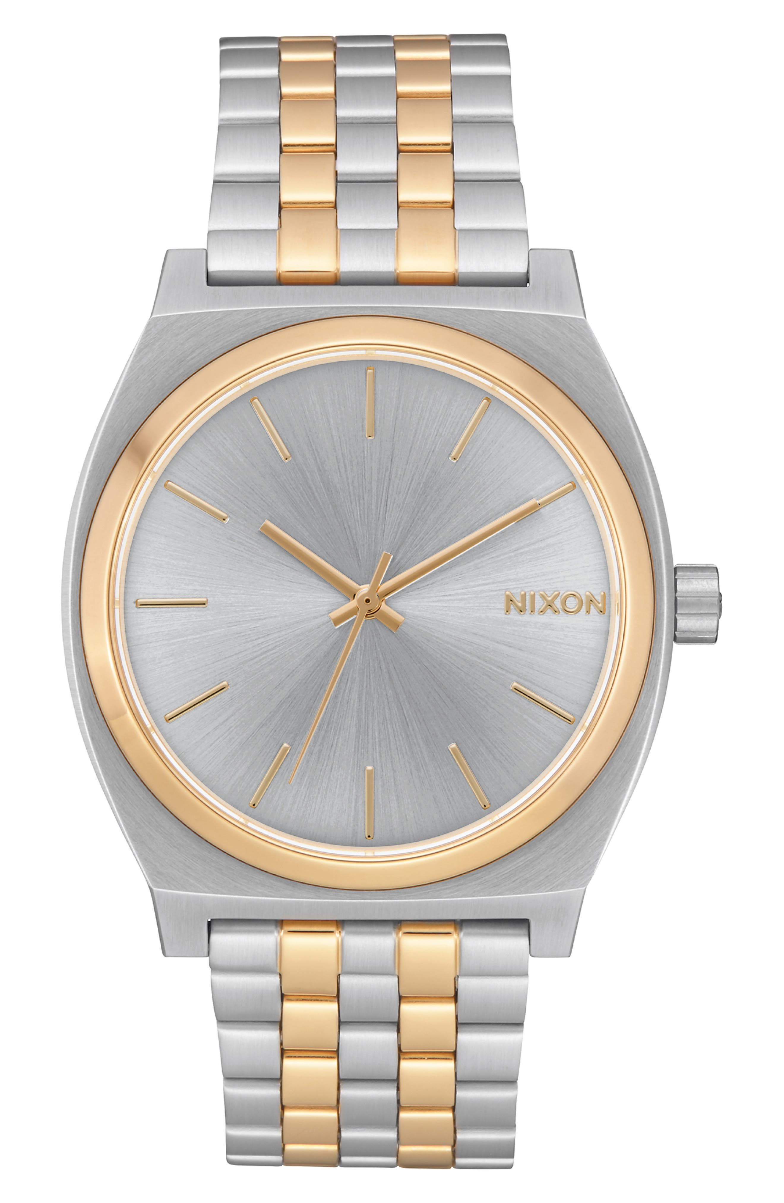 NIXON, 'The Time Teller' Watch, 37mm, Main thumbnail 1, color, SILVER/ GOLD