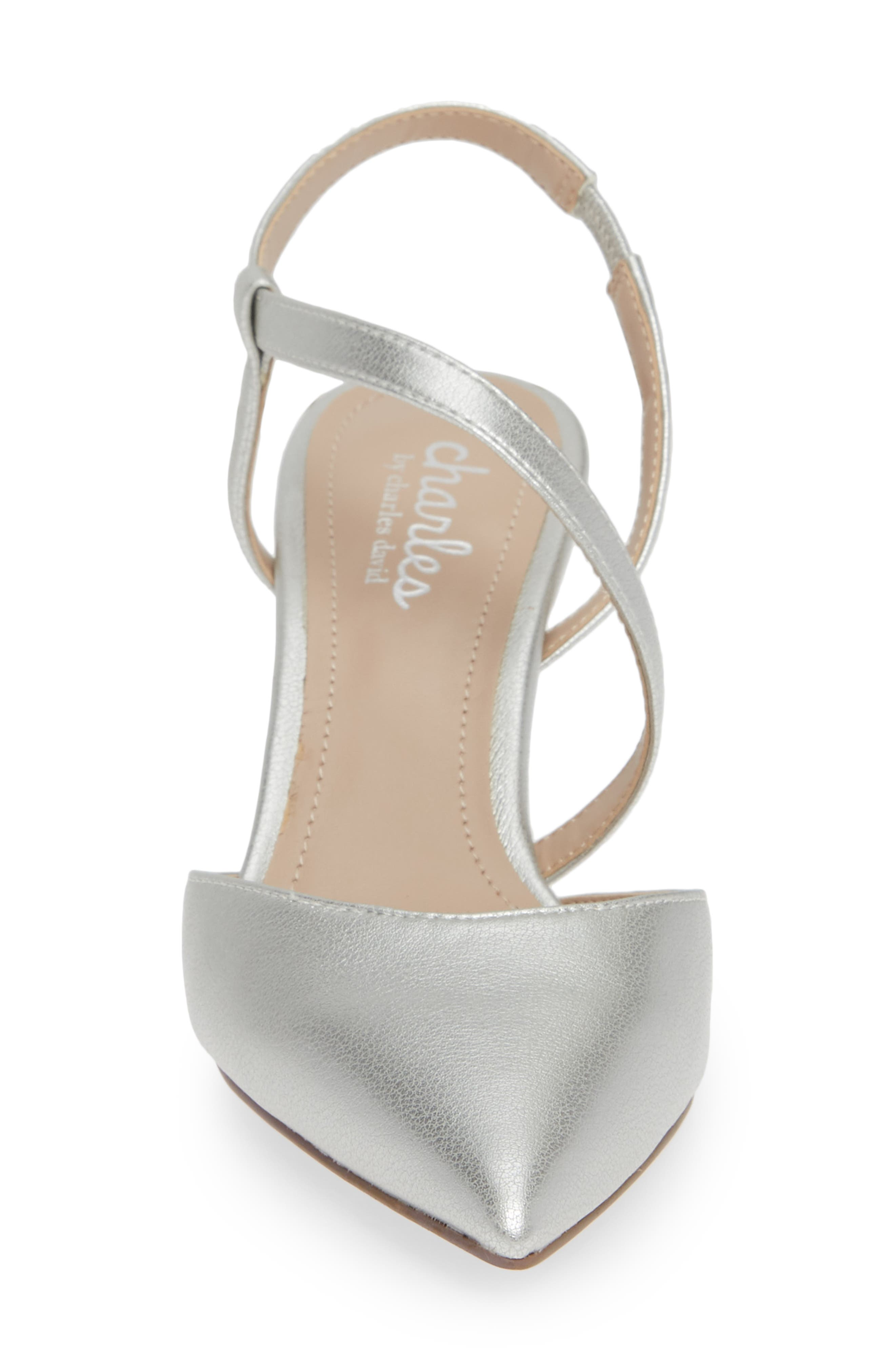 CHARLES BY CHARLES DAVID, Alda Pump, Alternate thumbnail 4, color, SILVER FAUX LEATHER