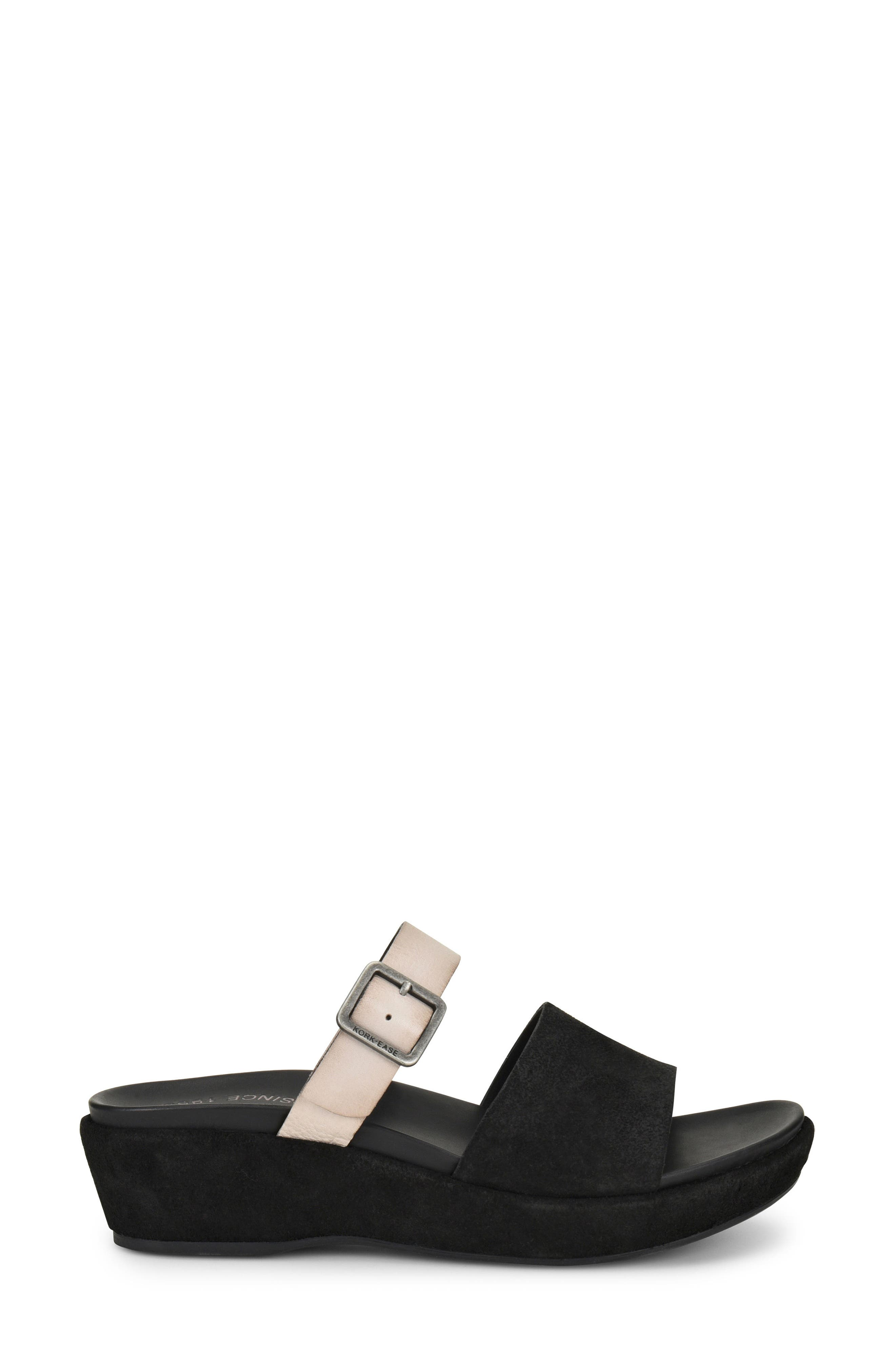 KORK-EASE<SUP>®</SUP>, Bisti Wedge Slide Sandal, Alternate thumbnail 3, color, BLACK/ GREY LEATHER