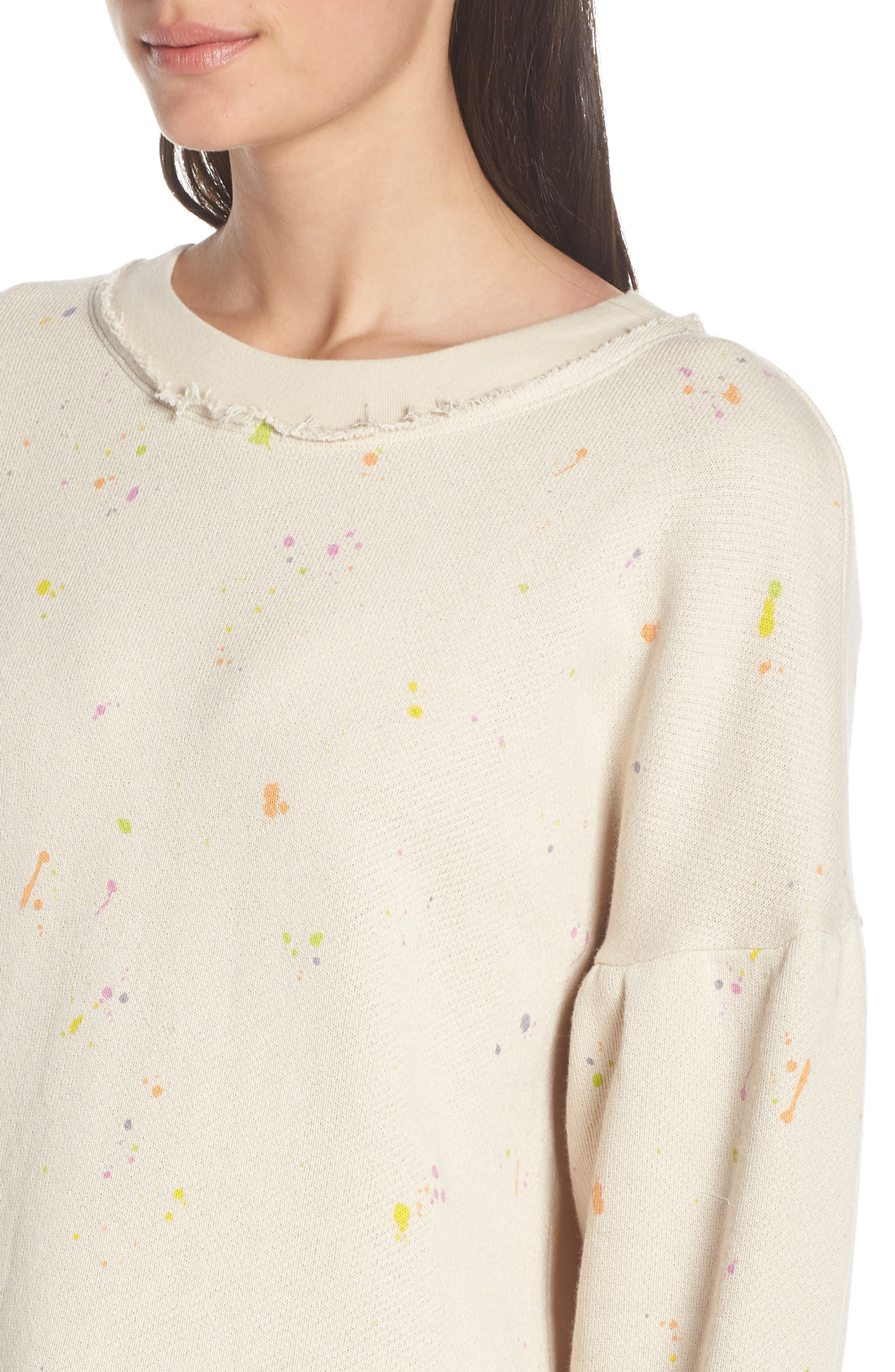 FREE PEOPLE MOVEMENT, Make It Count Printed Sweatshirt, Alternate thumbnail 5, color, IVORY