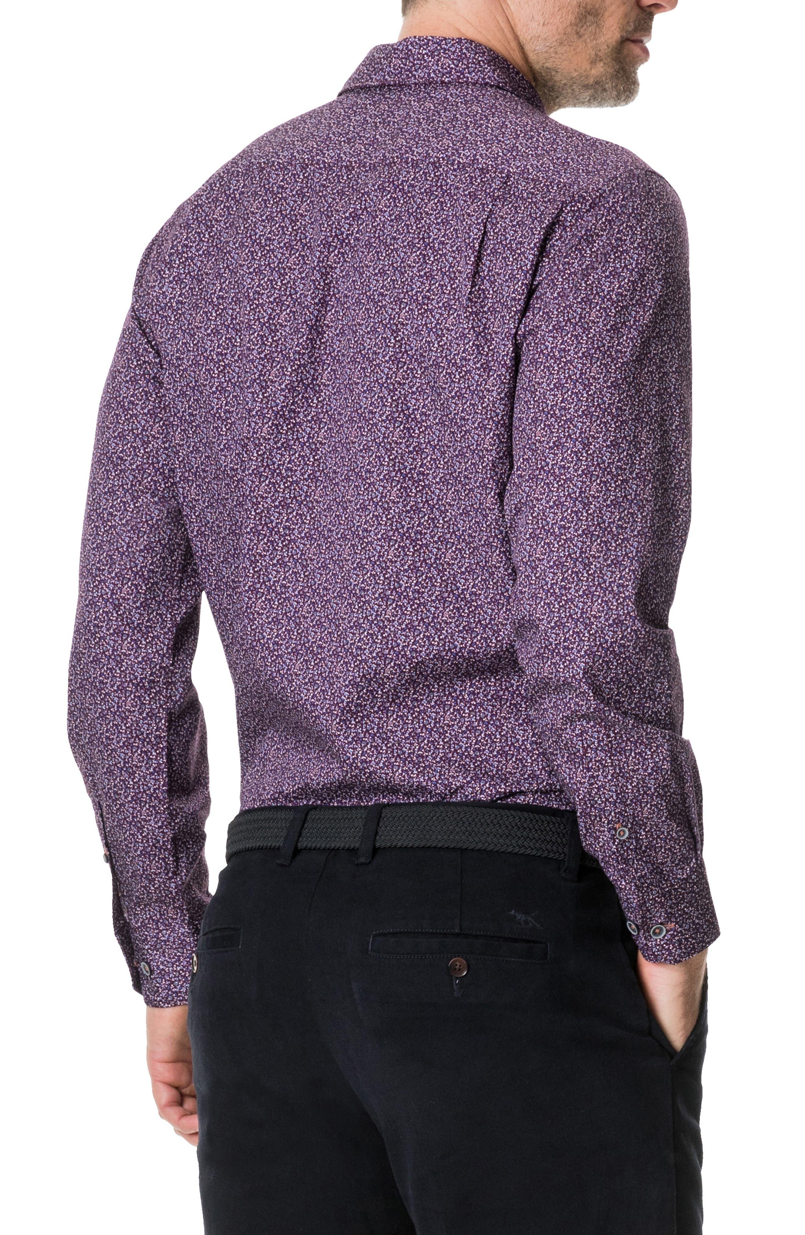 RODD & GUNN, Scotland Street Regular Fit Floral Sport Shirt, Alternate thumbnail 3, color, PLUM PURPLE